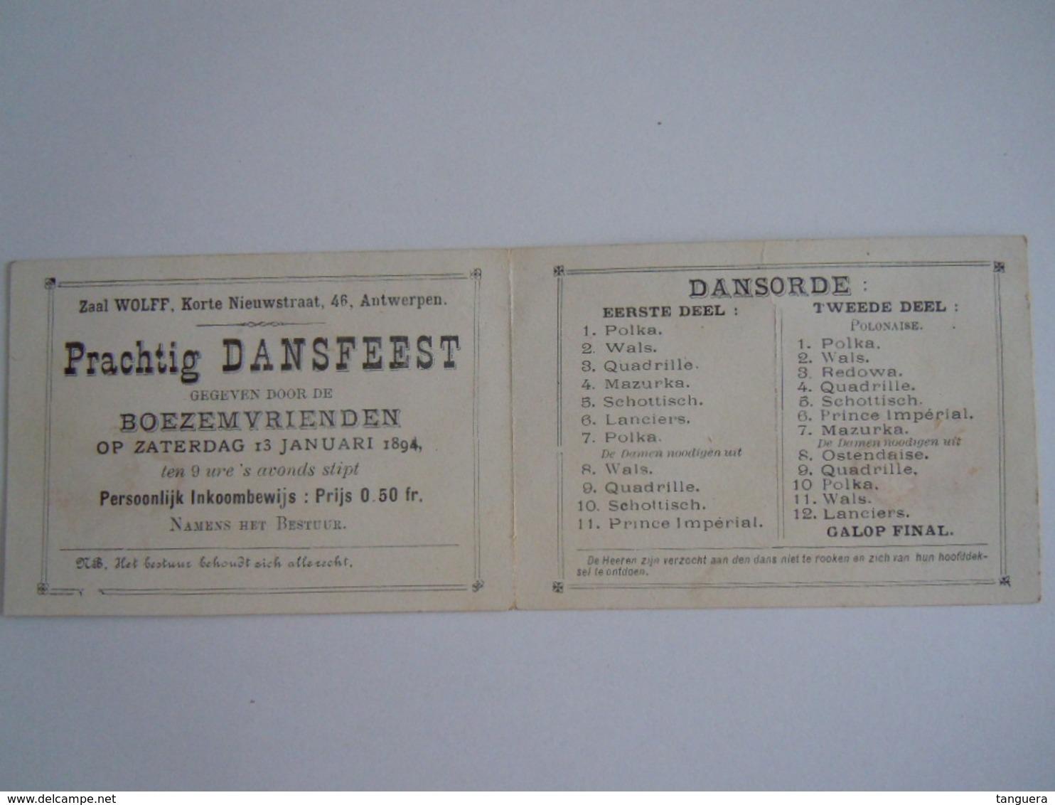 Ticket Dansfeest Boezemvrienden 1894 Antwerpen Met Dansorde Mignonnette Mignonette 10 X 7 Cm - Tickets D'entrée