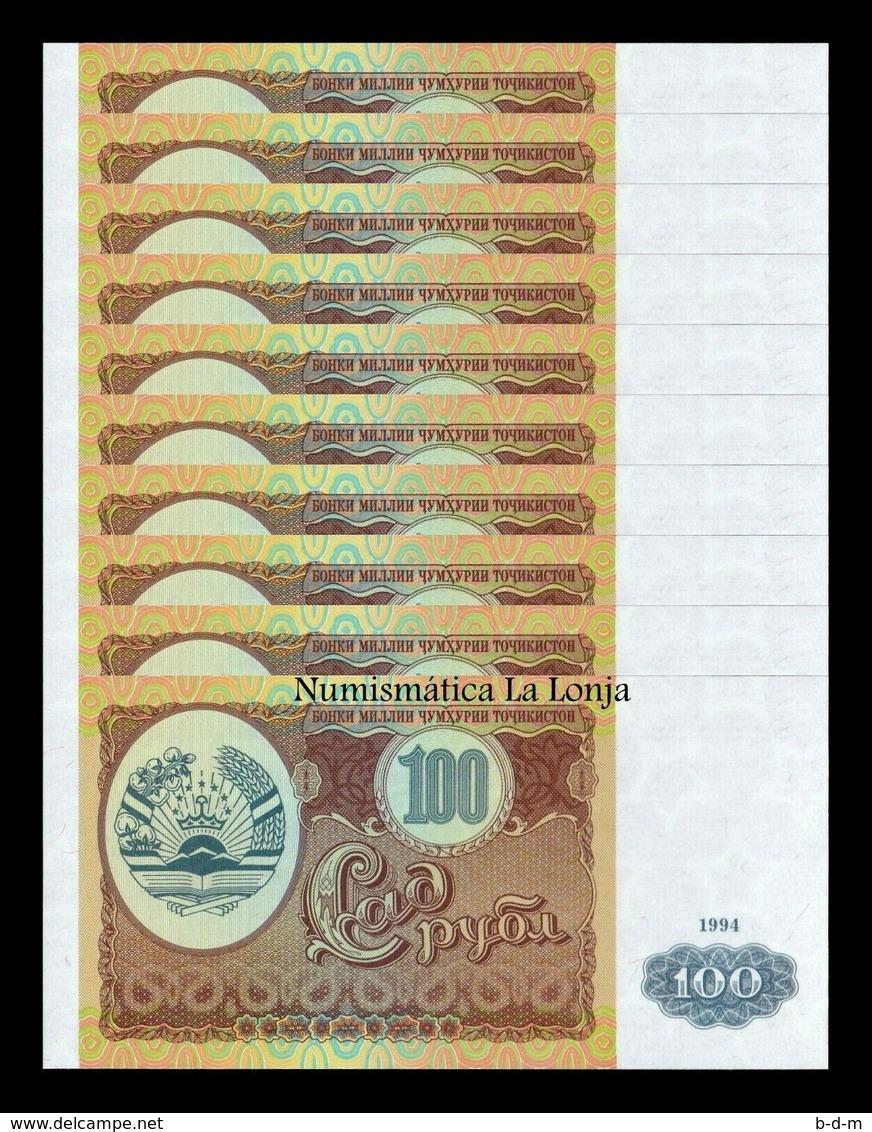 Tajikistan Lot Bundle 10 Banknotes 100 Rubles 1994 Pick 6 SC UNC - Tajikistan