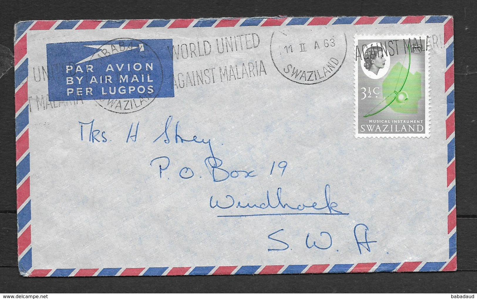 Swaziland, 3 1/2c Air Mail MBABANE 11 II 63 + WORLD UNITED AGAINT MALARIA > Windhoek, SWA - Swaziland (...-1967)