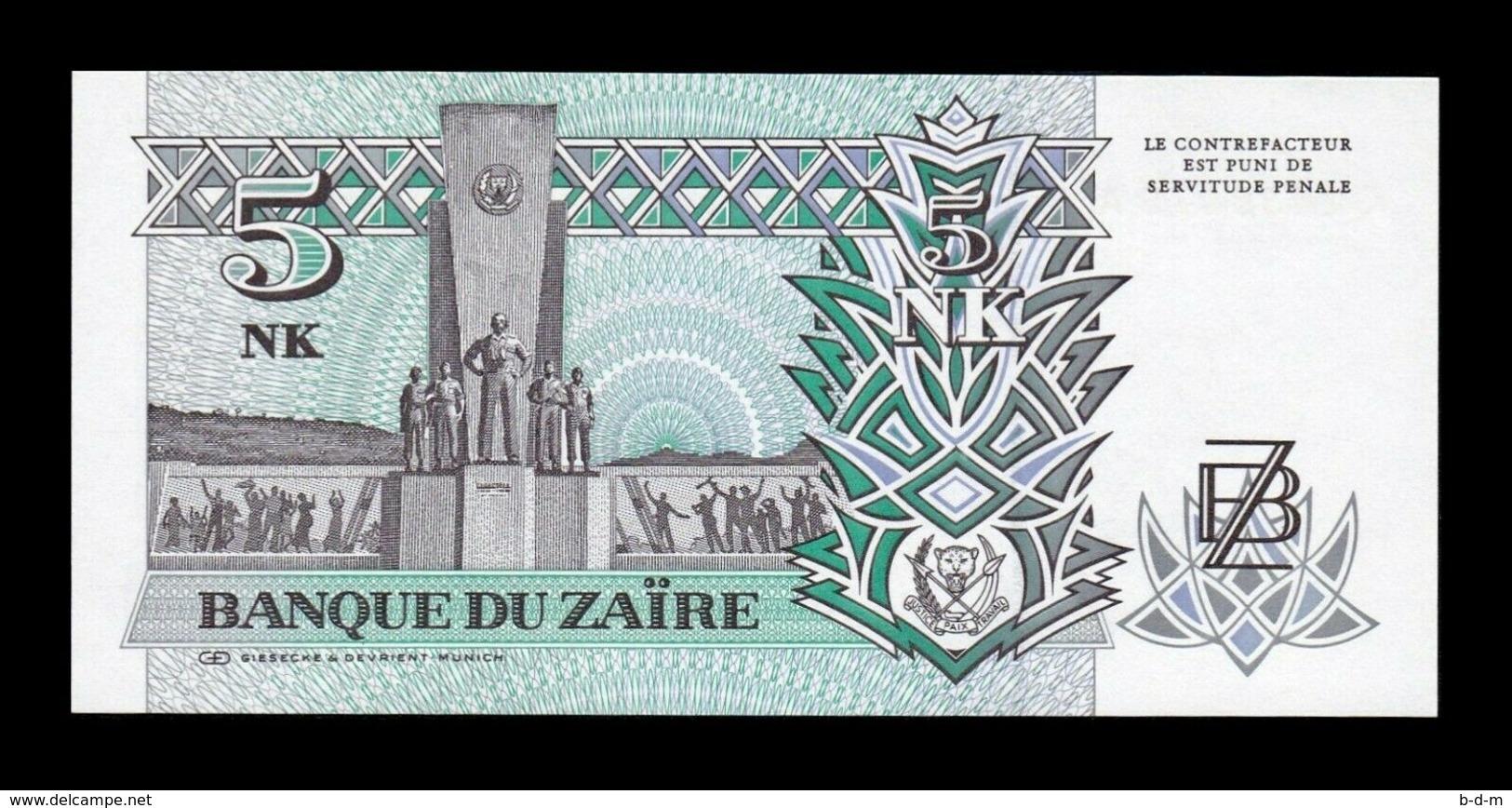 Zaire Lot Bundle 10 Banknotes 5 Makuta 1993 Pick 48 SC UNC - Zaire