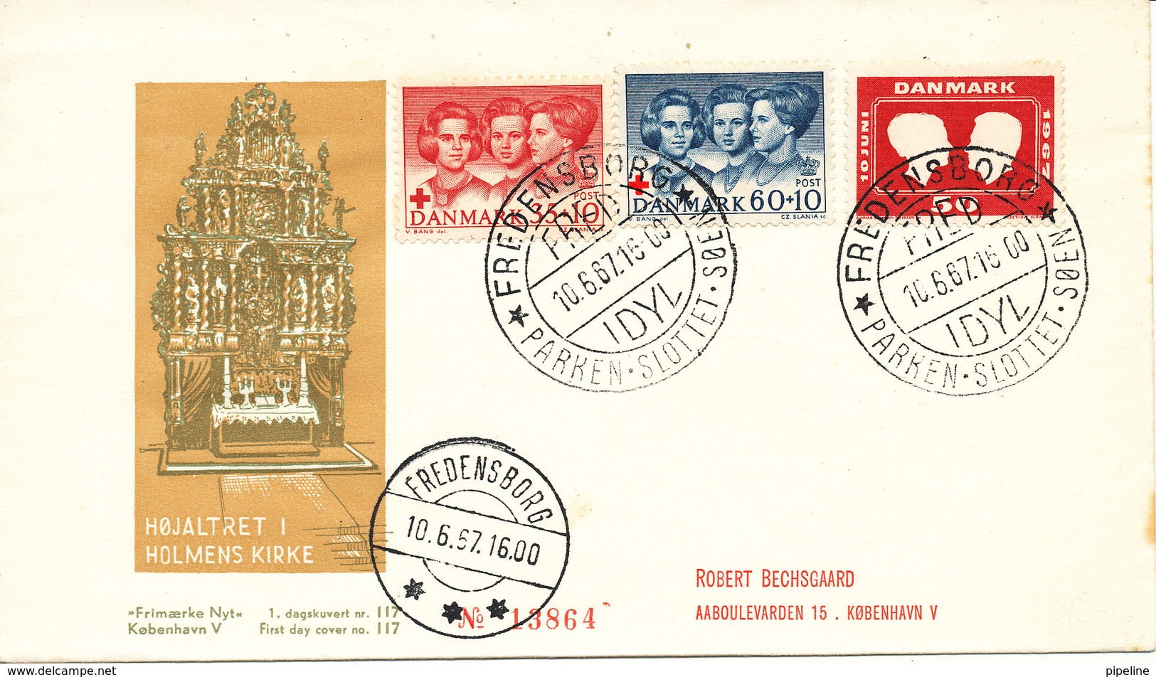 Denmark FDC Royal Wedding Stamp Fredensborg 10-6-1967 And Complete Set RED CROSS - FDC