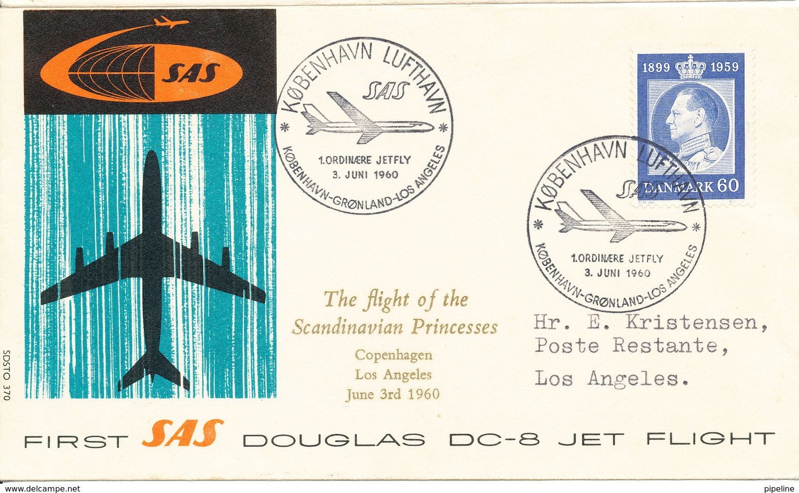 Denmark First SAS DC-8 Jet Flight Copenhagen - Greenland - Los Angeles 3-6-1960 - Denmark