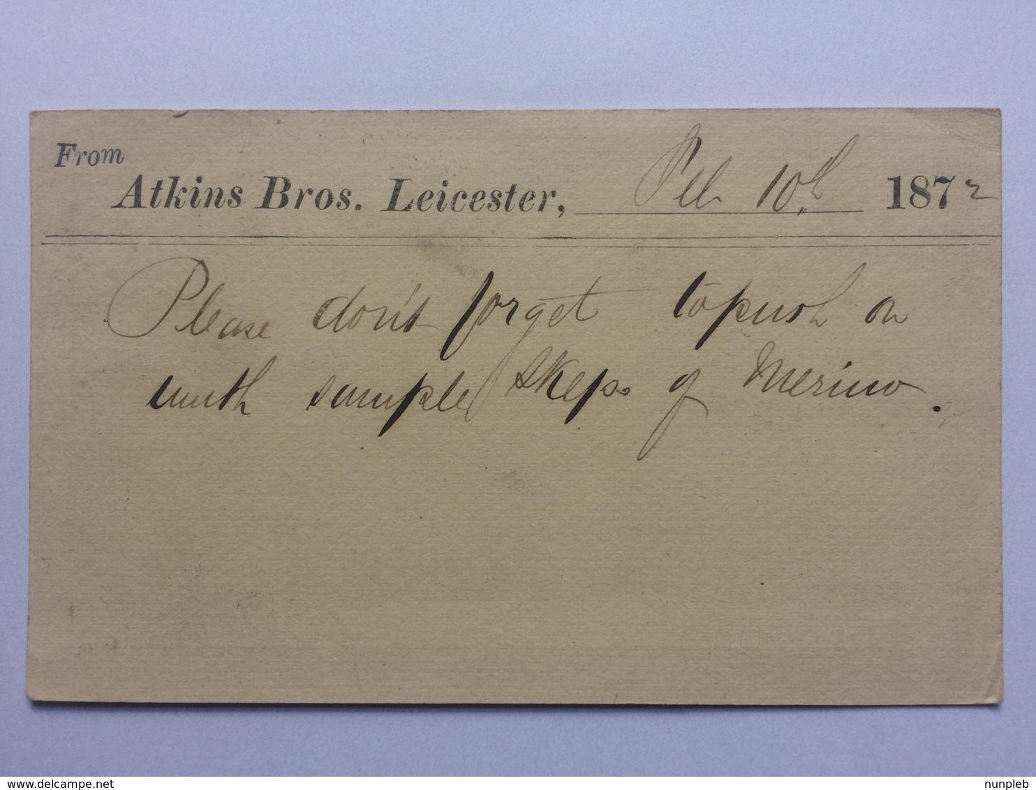 GB Victoria 1872 Postcard Leicester To Milnsbridge - Atkins Brothers - Cartas