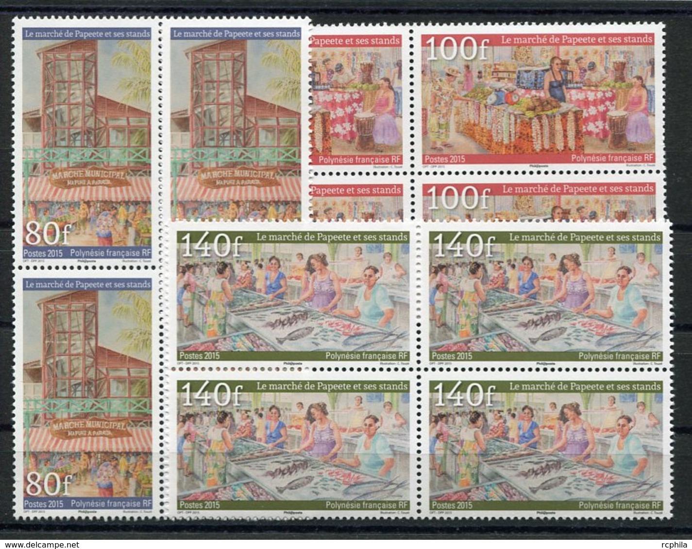 RC 12741 POLYNÉSIE N° 1107 / 1109 SÉRIE LE MARCHÉ DE PAPEETE BLOCS DE 4 NEUF ** - Polynésie Française