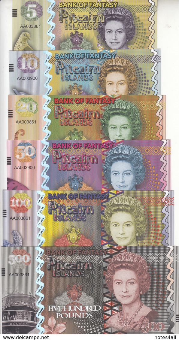 PITCAIRN ISLANDS 5 10 20 50 100 500 POUNDS 2018 QEII POLYMER FANTASY BEAUTY SET - Bankbiljetten