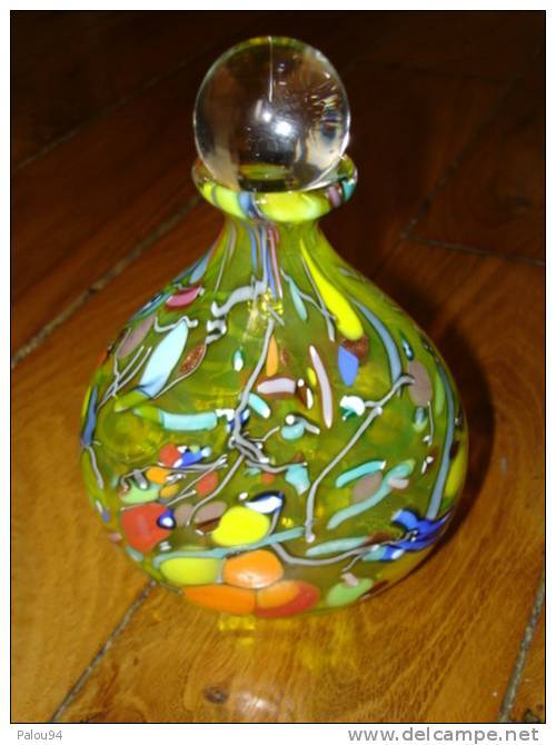 Vase Flacon Parfum Verre Venitian Murano Signé Cenedese ( Gino ) - Glass & Crystal