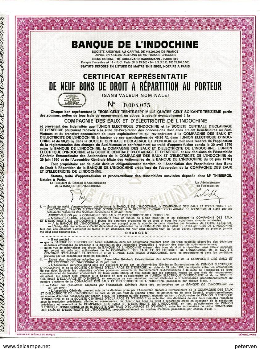 BANQUE De L'INDOCHINE; Certificat Répresentatif - Azië