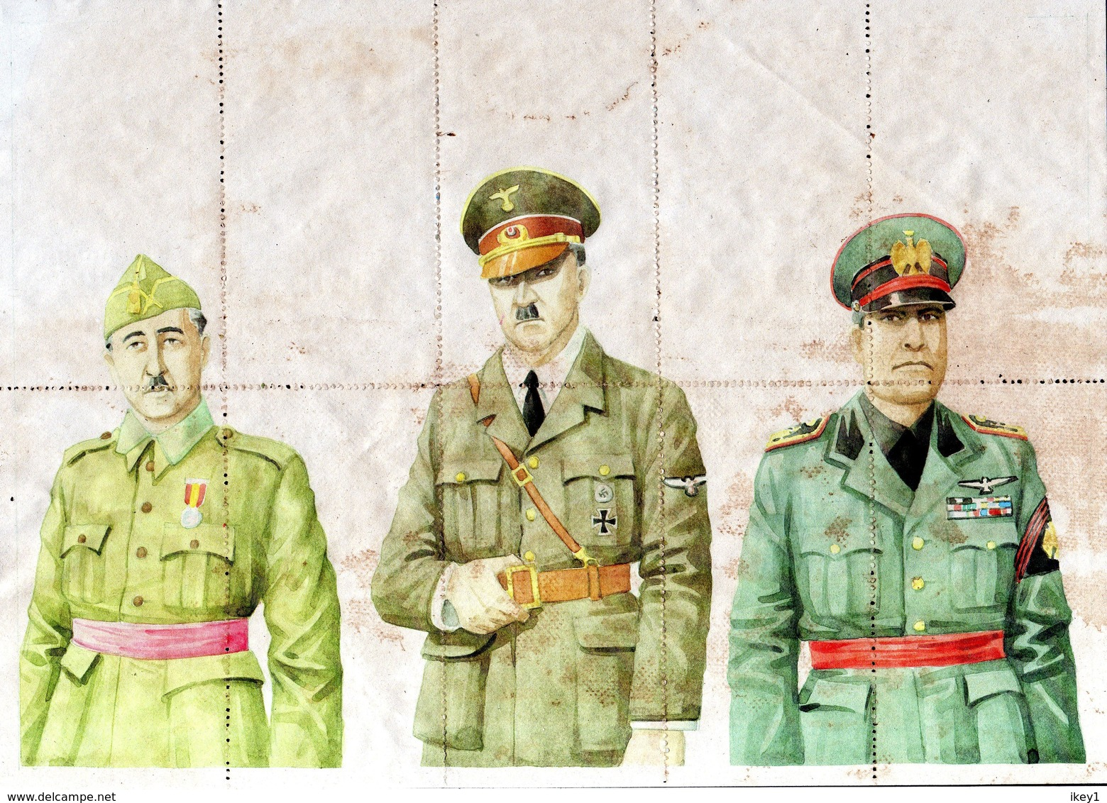 10936--GERMAN EMPIRE-SPAIN-MILITARY PROPAGANDA CIVIL WAR,RATION COUPONS A.HITLER-FRANCO-MUSSOLINI.1942.WWII.Cupones Rac - Allemagne