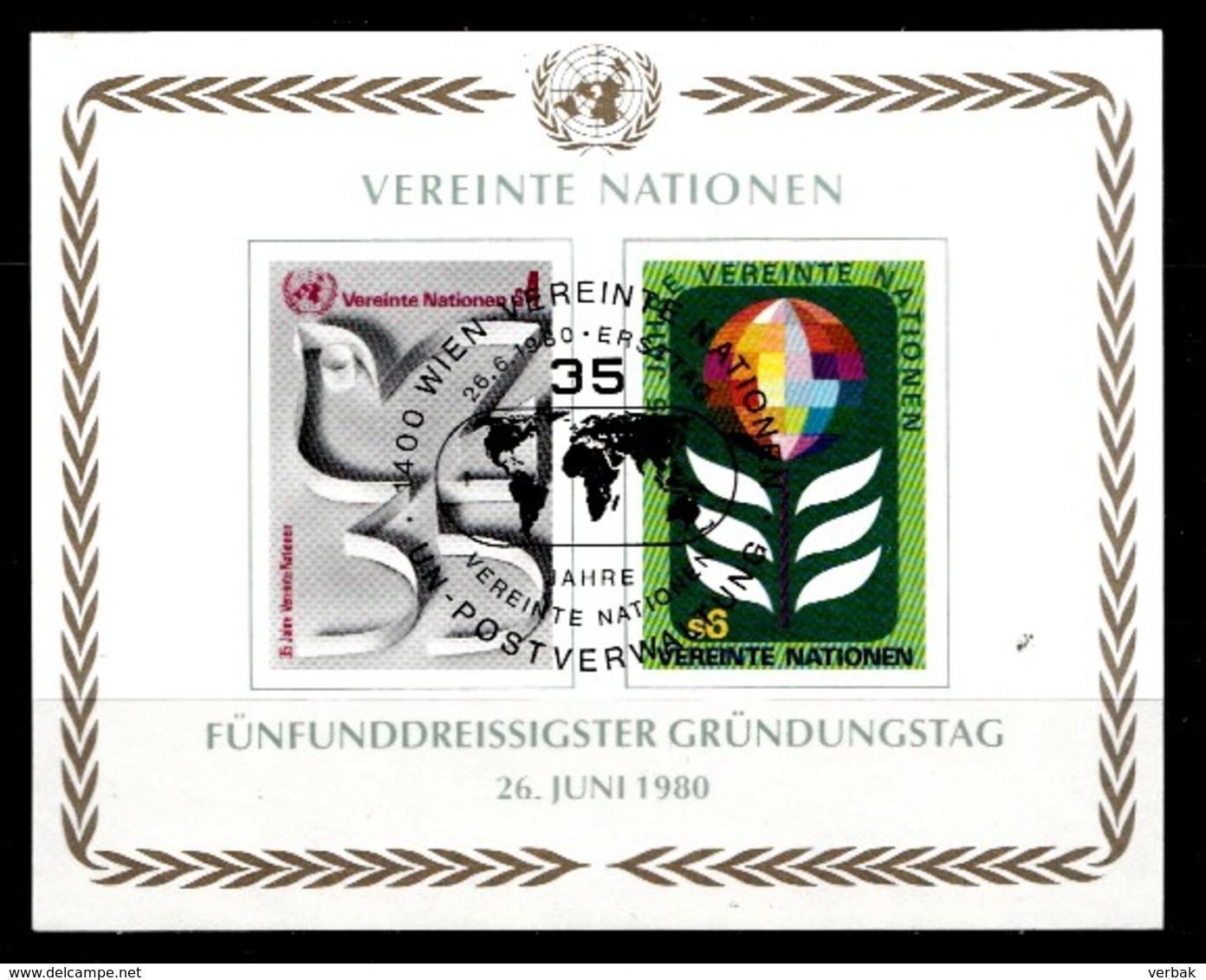 Nations Unies Wenen 1980 Mi.Nr: Block 1 35.Jahre Vereinte Nationen UNO  Oblitèré / Used / Gebruikt - Centre International De Vienne