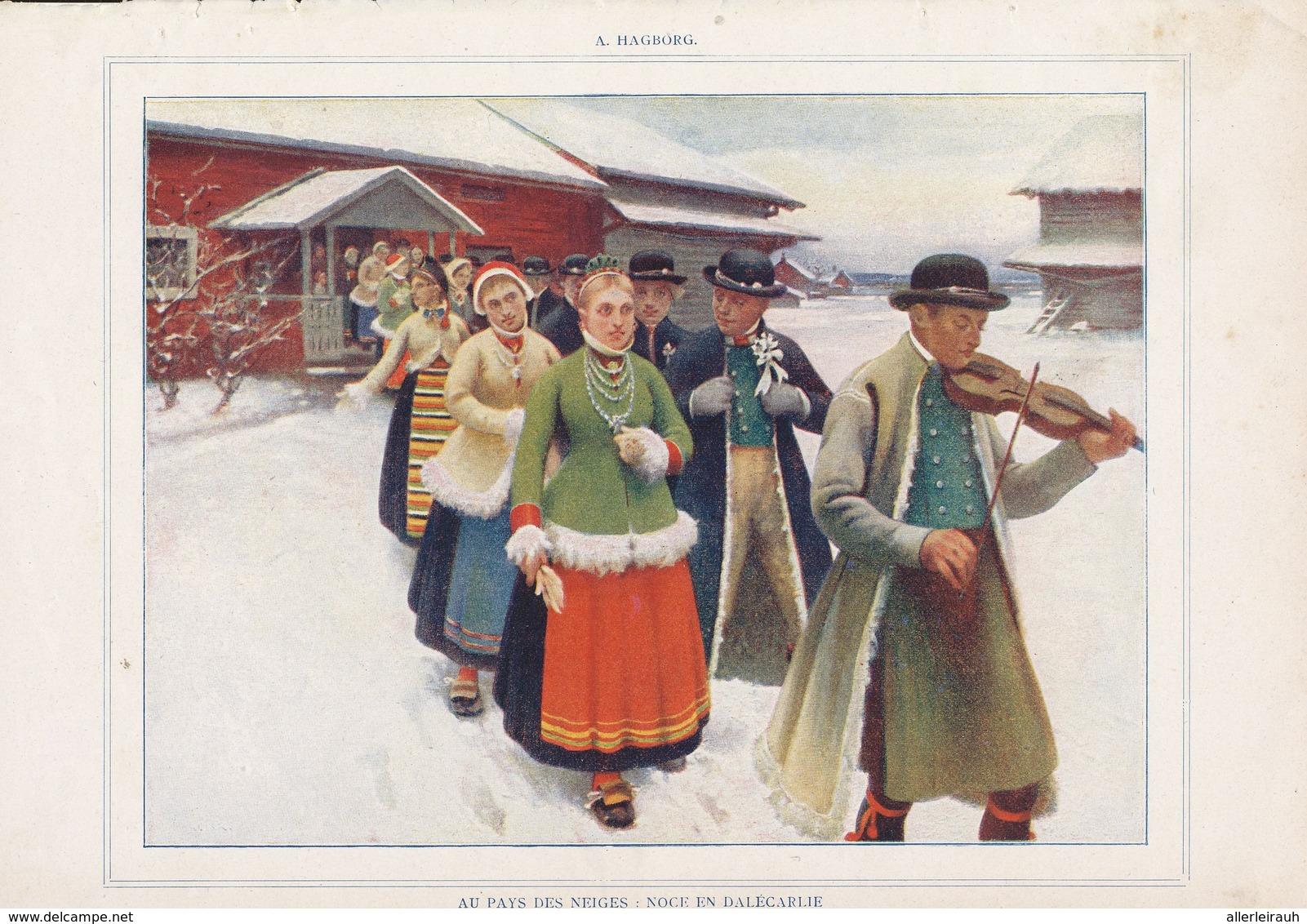 Noce En Dalecarlie /  Imprimé , Pris D`un Magazine / 1909 - Bücher, Zeitschriften, Comics