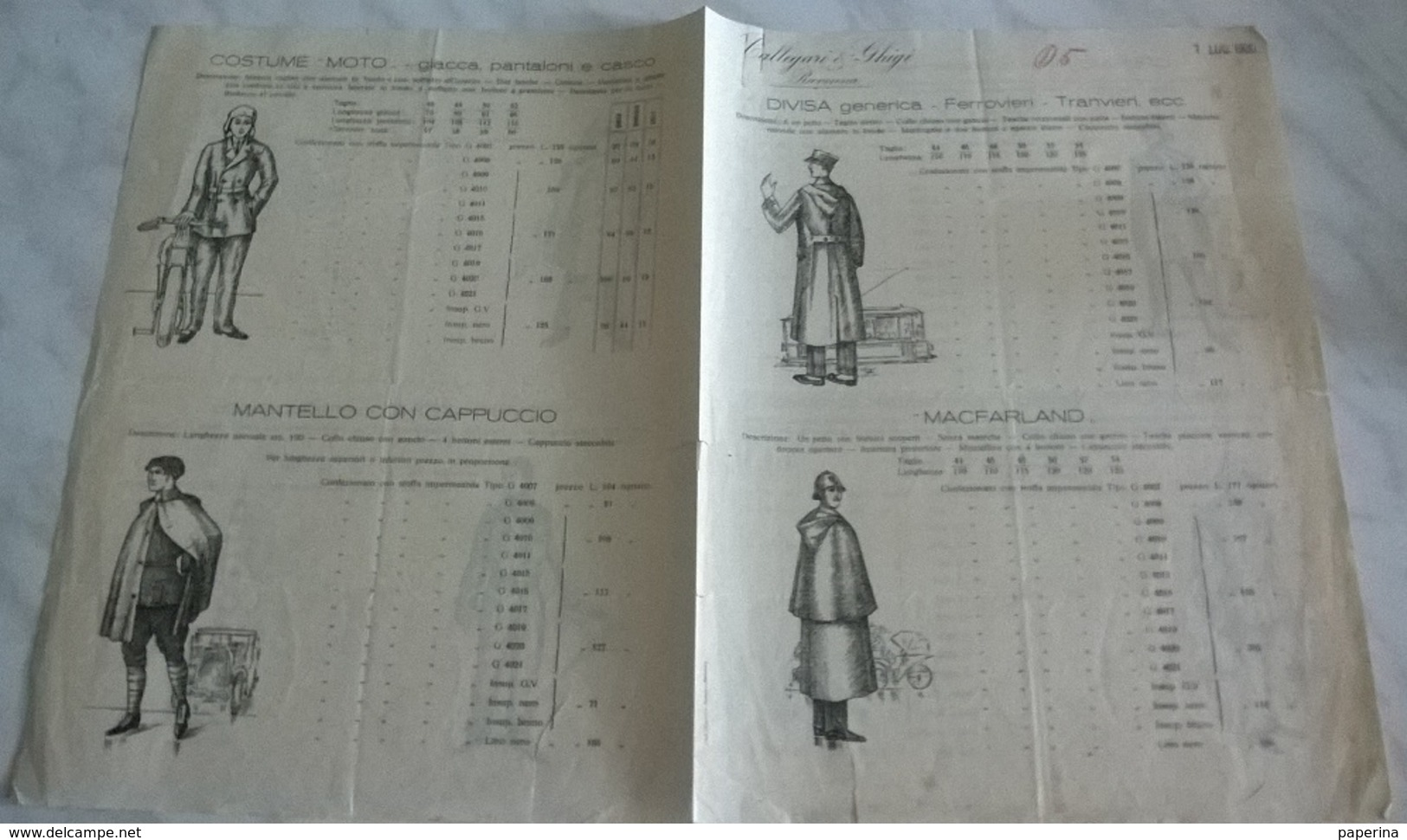 CALLEGARI & GHIGI RAVENNA 1/7/1930 DIVISE FERROVIERI, MACFARLAND, OPERAIO, MINATORE, MARINAIO, MOTO... (15) - Pubblicitari