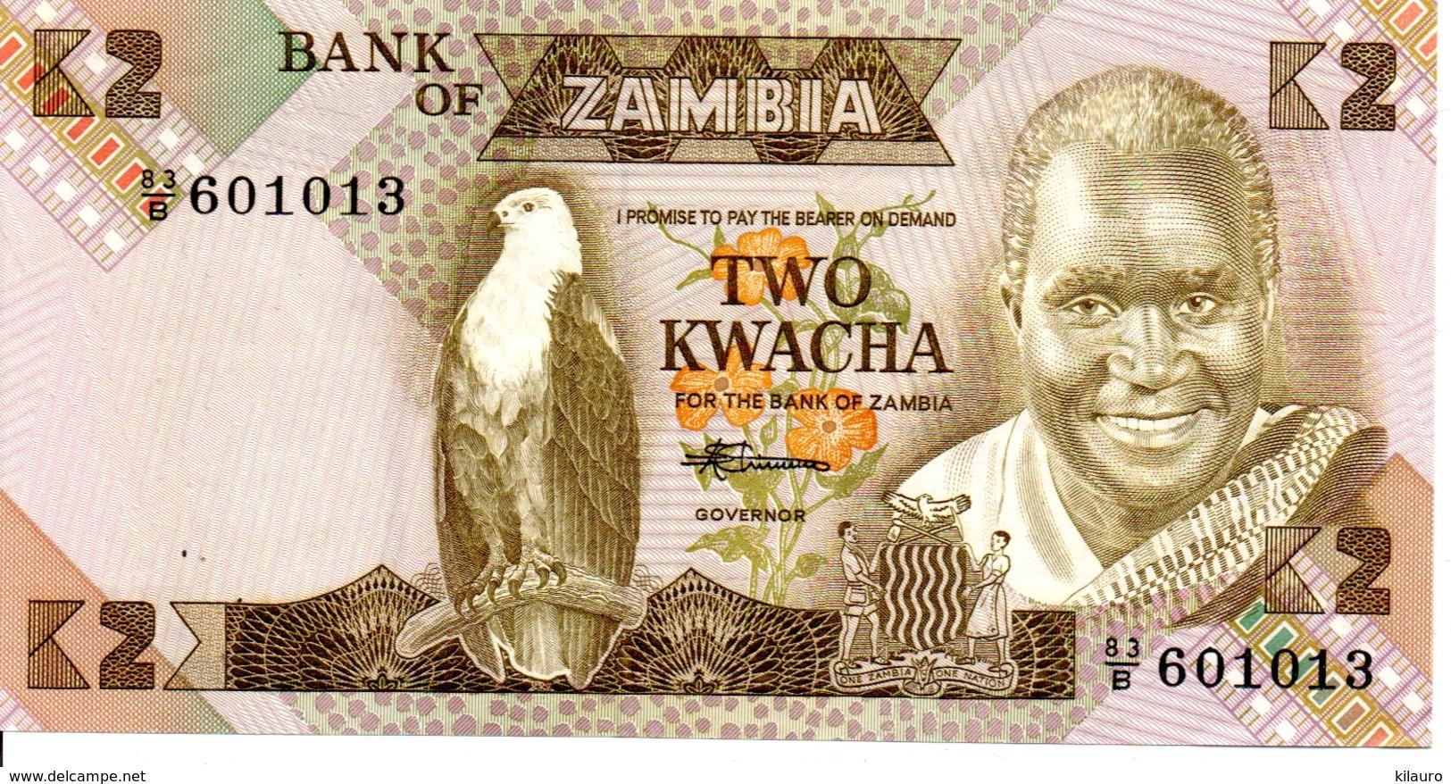 ZAMBIE ZAMBIA - Billet K2 Aigle Animal Oiseau - Zambie