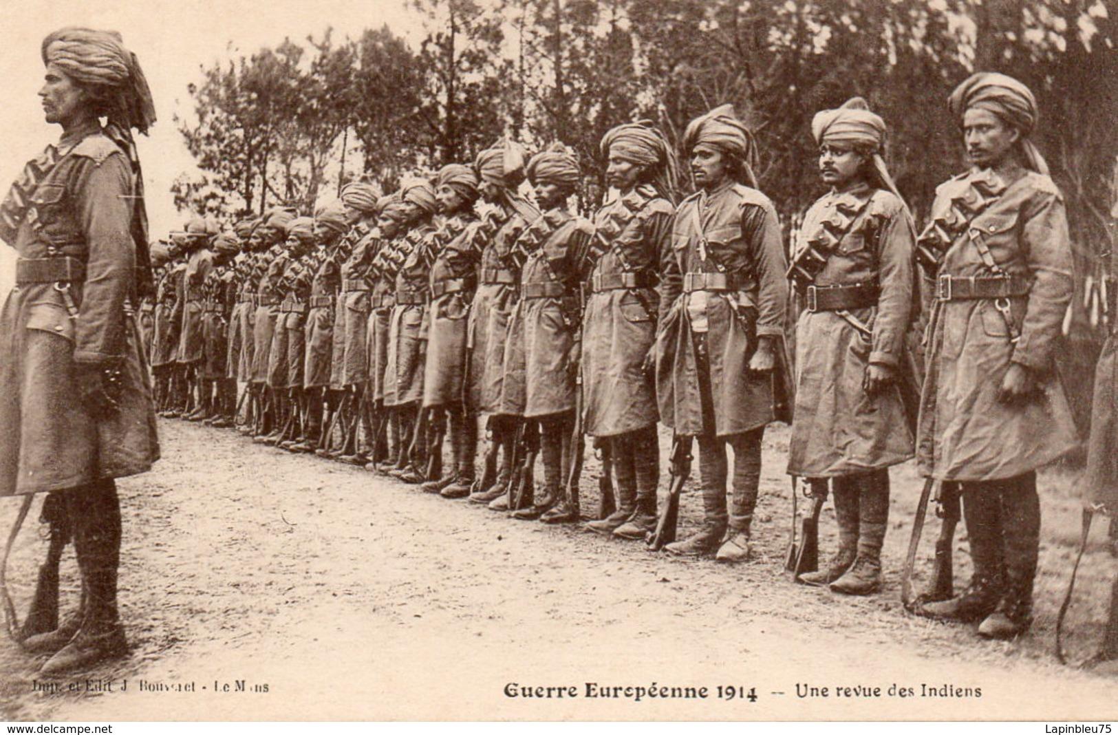 CPA Guerre 14 Européenne Grande Une Revue Des Indiens - Guerre 1914-18