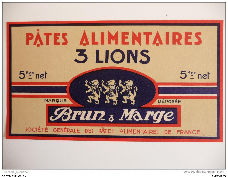 - FRANCE - ETIQUETTE PATES ALIMENTAIRES 3 LIONS - BRUN & MARGE - - Labels