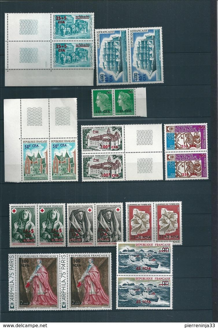 Lot Timbres De La Réunion /CFA En Paire , Surtout 1973/4 , Neufs Sans Charnière , Cote : 77 Euro - Ungebraucht