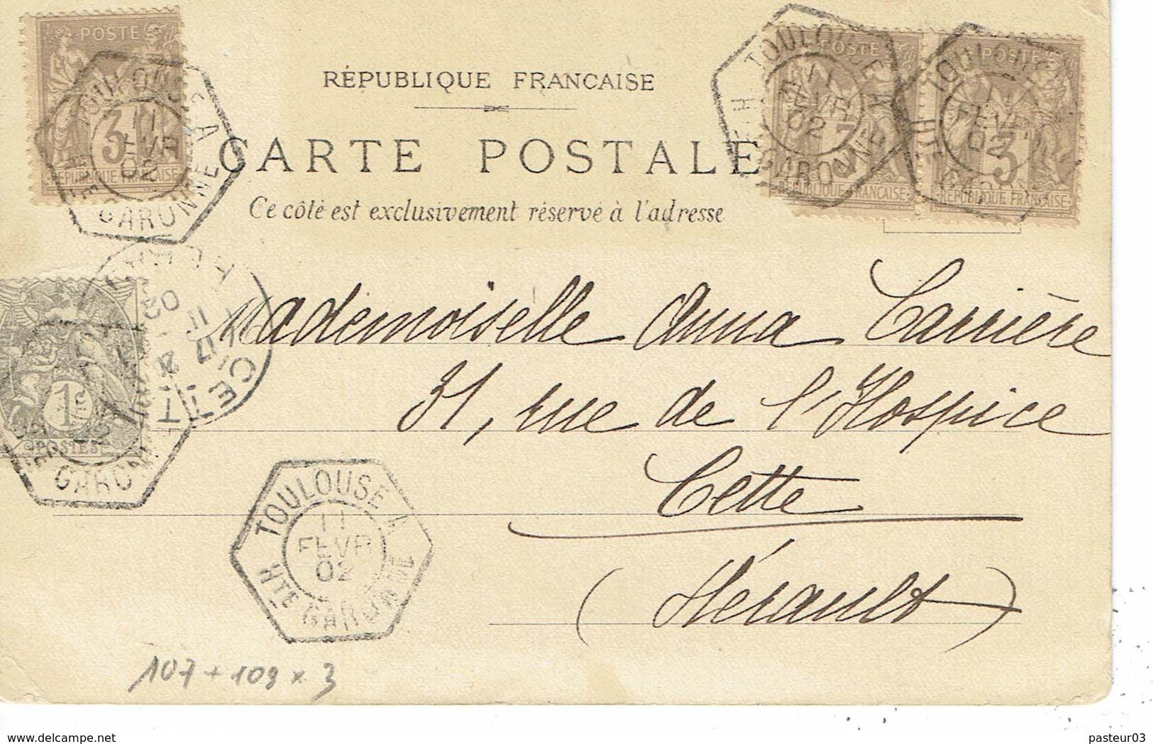 107 + 109 X 3 Type Blanc 1 C. Gris Plus 3 C. Brun Toulouse 11-2-1902 - 1900-29 Blanc
