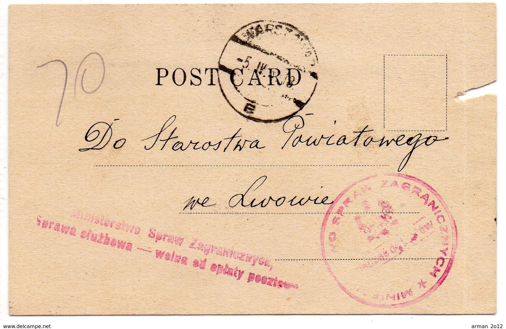 Poland Consular Mail New York Warszawa Lwow 1933 - 1919-1939 Republic
