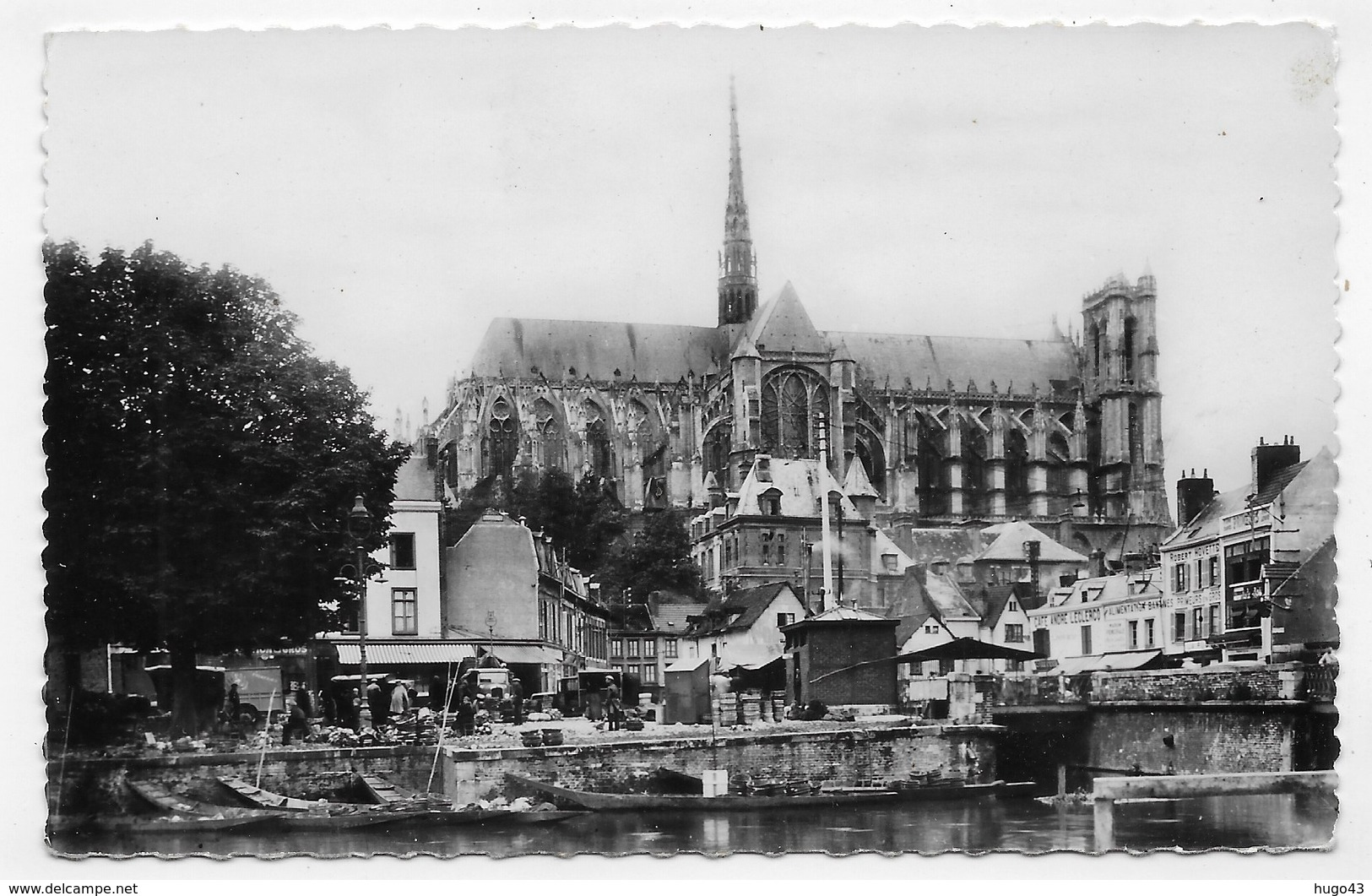 AMIENS - N° 10 - LA CATHEDRALE ET LE MARCHE SUR L' EAU - Cliché R. LELONG -  FORMAT CPA NON VOYAGEE - Amiens