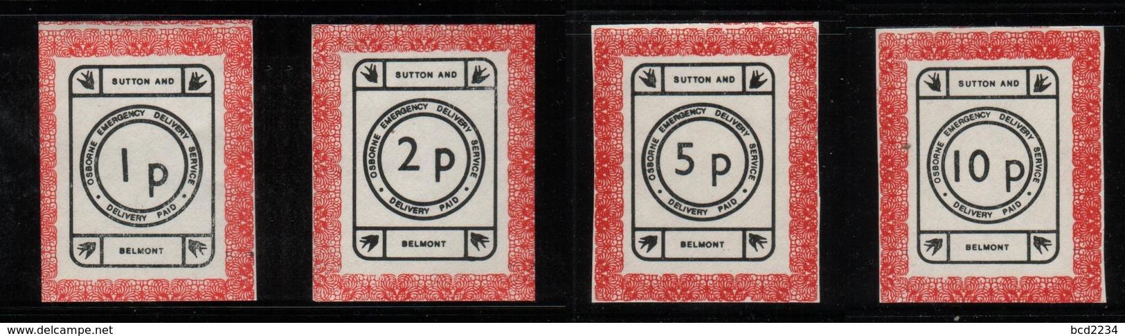 GREAT BRITAIN GB 1971 POSTAL STRIKE MAIL OSBOURNE EMERGENCY DELIVERY SERVICE SUTTON BELMONT WHITE DECIMAL 1p-10p NHM - Cinderellas