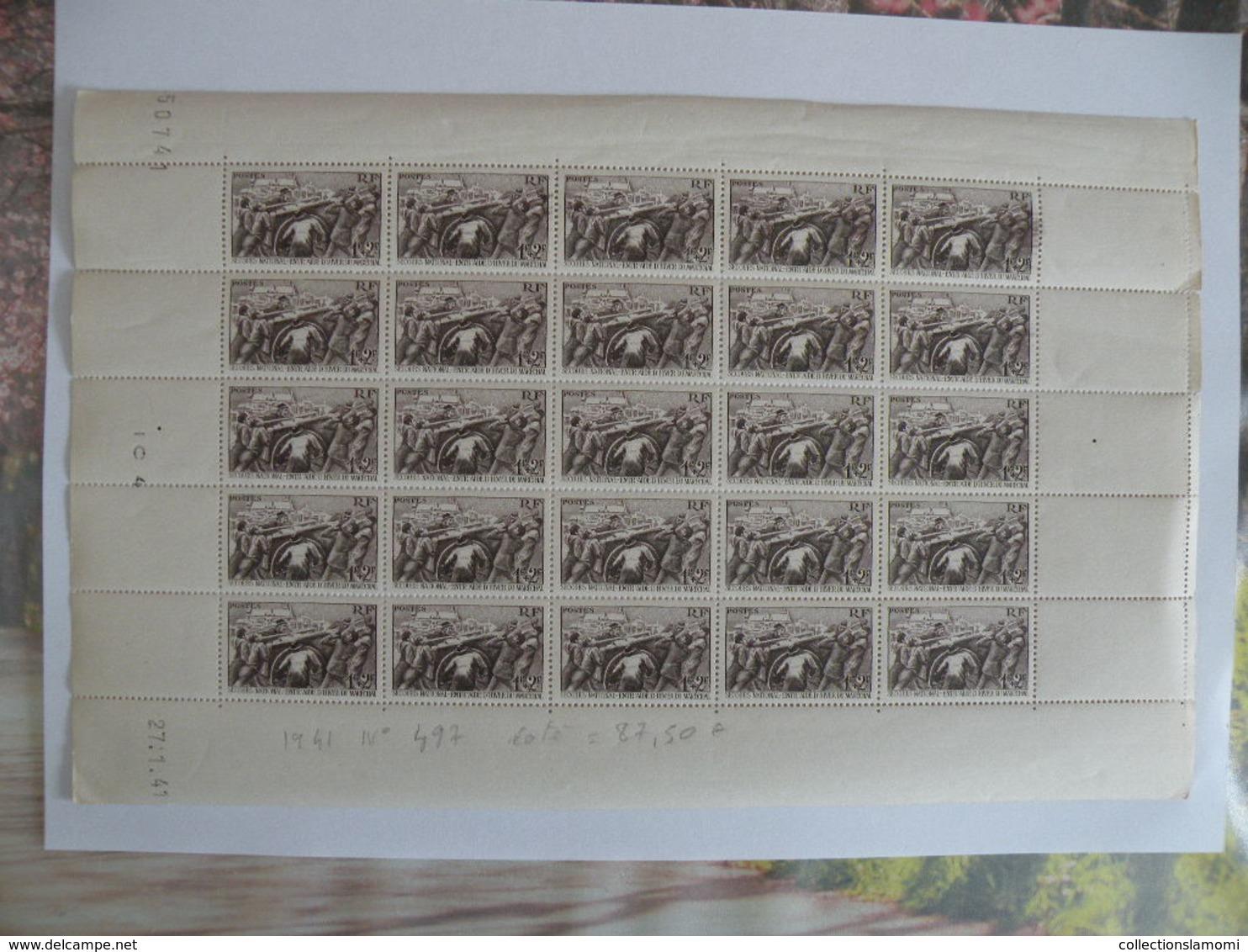 Feuille Coin Daté 27.1.1941 N°497-Secours National - Coté 425€ Feuille Neuf - France