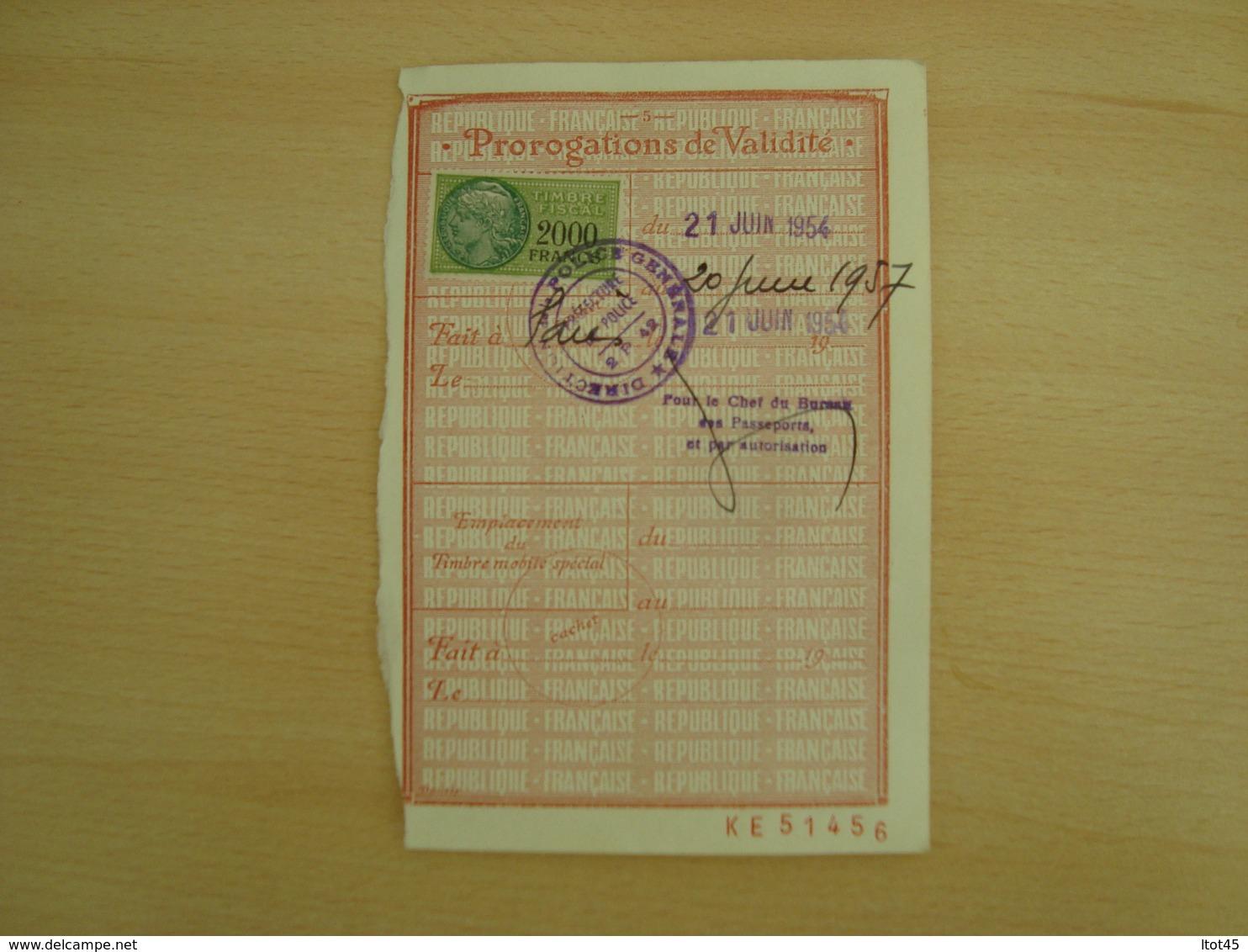 TIMBRE FISCAL DE 2000 FRANCS 1954 - Revenue Stamps