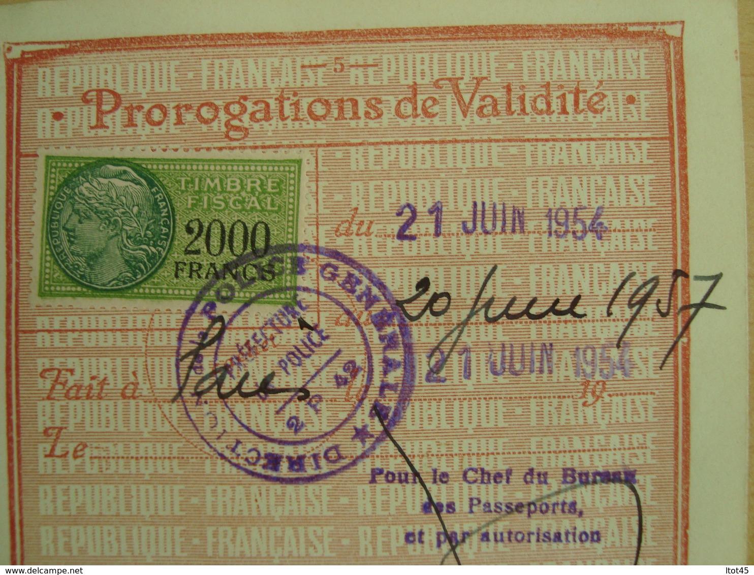 TIMBRE FISCAL DE 2000 FRANCS 1954 - Fiscale Zegels