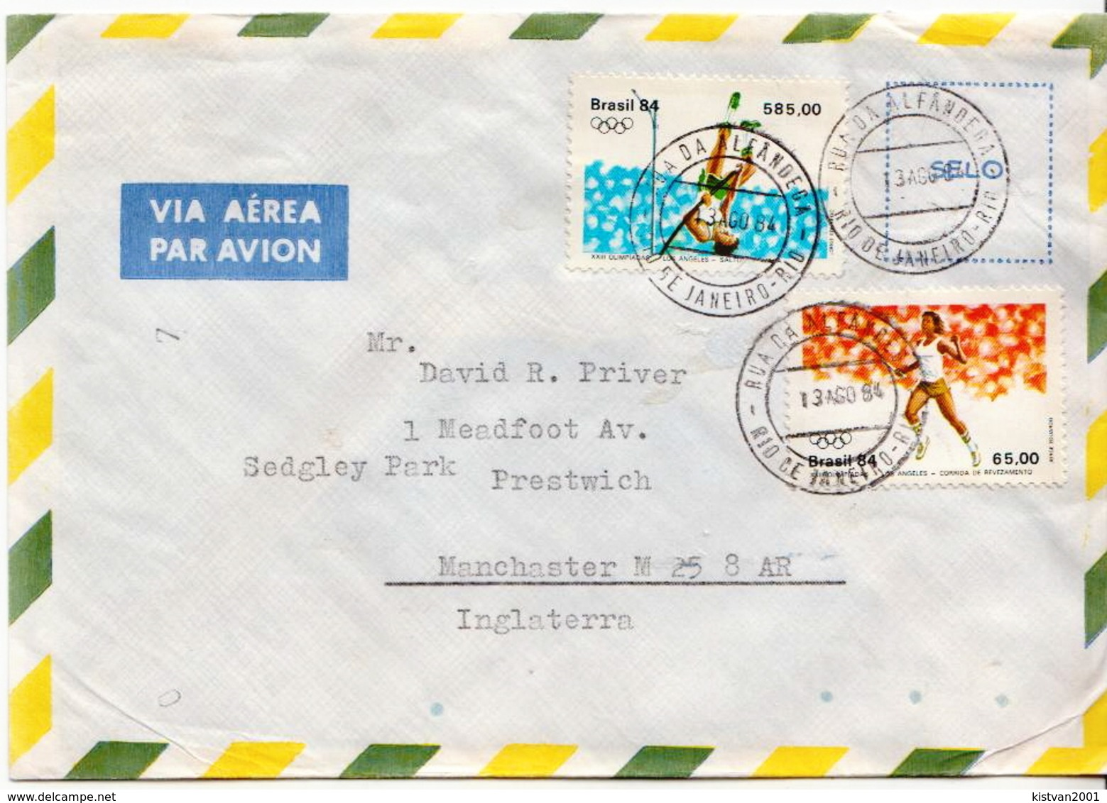 Postal History Cover: Brazil Stamps On Cover - Summer 1984: Los Angeles