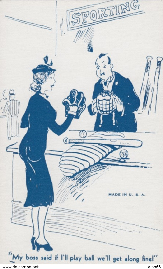 Boss And Secretary Risque Humor Baseball Theme, , C1930s/40s Vintage Arcade Card - Other