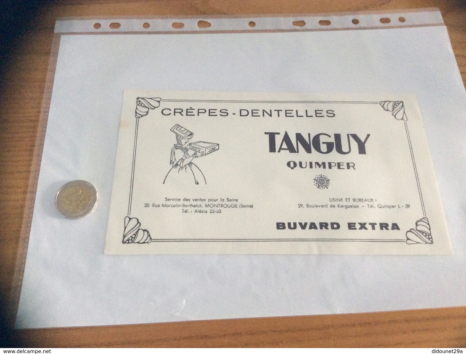 "Buvard ""CRÈPES DENTELLES TANGUY - QUIMPER (29)"" - Vloeipapier"