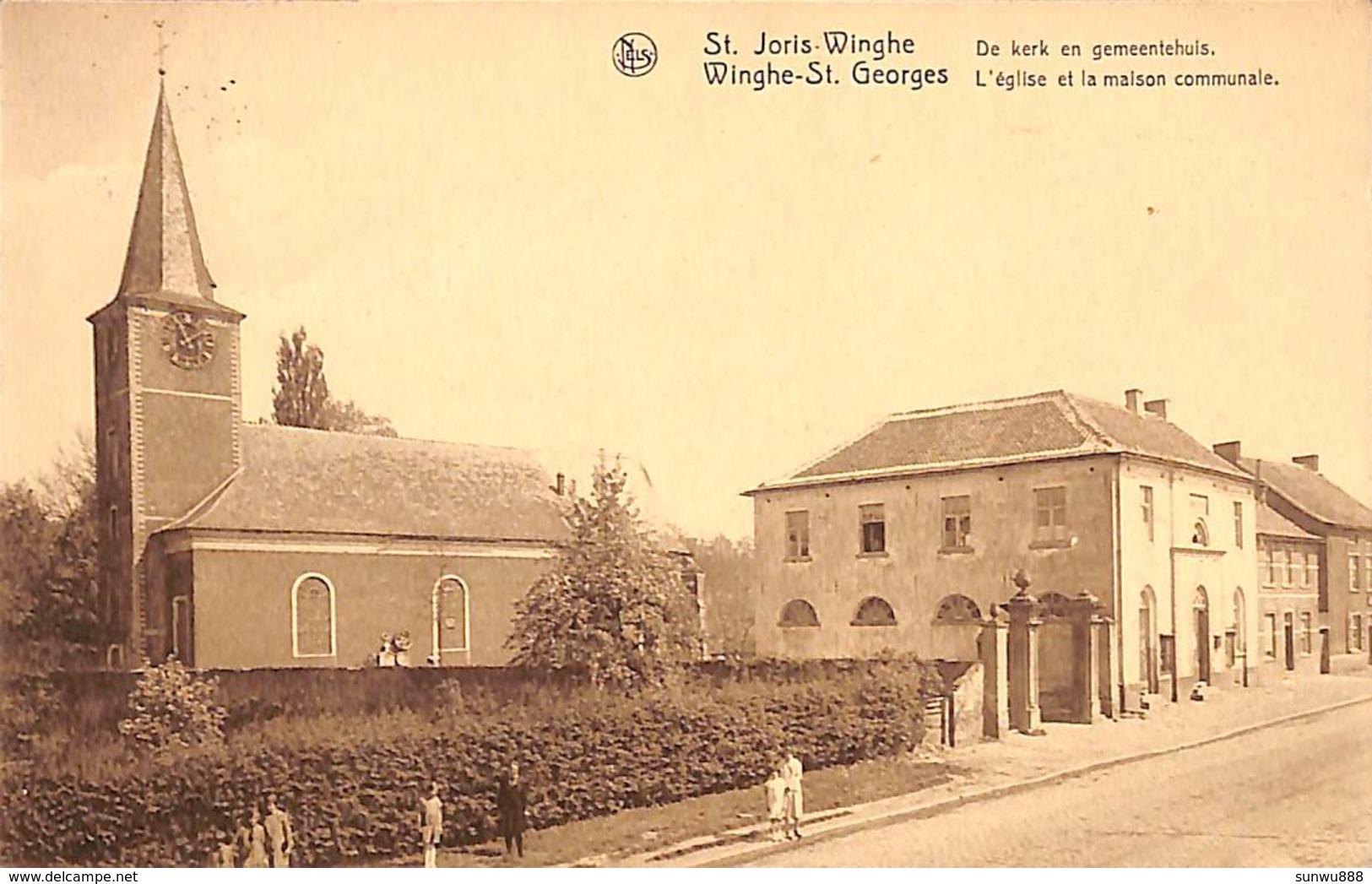 St Joris-Winghe - De Kerk En Gemeentehuis (animatie, Uitg. Wwe P Wolfs ) - Geraardsbergen