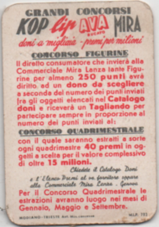 Figurina Mira Lanza 5 Punti Perla - Trade Cards