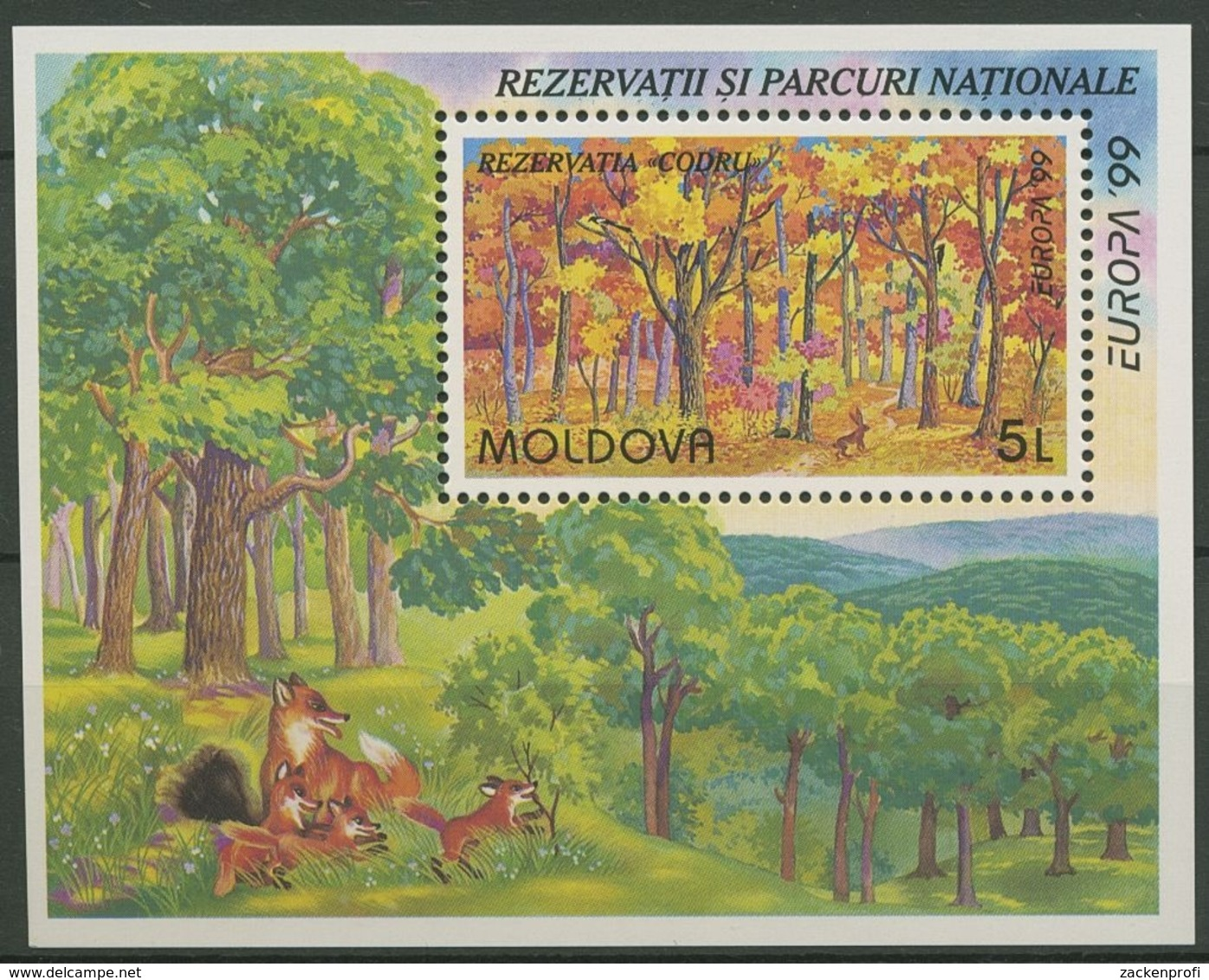 Moldawien 1999 Europa CEPT Nationalparks Block 18 Postfrisch (C90314) - Moldawien (Moldau)