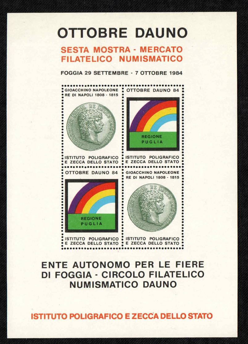 Italia - Foglietto Erinnofilo - 1984 - Foggia - Salone Della Filatelia E Numismatica - Souvenir Sheet - MNH - Cinderellas
