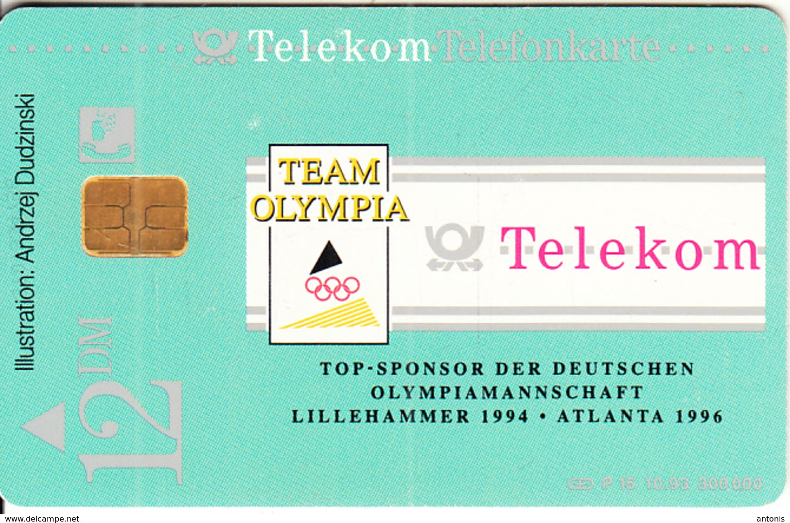 GERMANY(chip) - Lillehammer 1994 Winter Olympics, Team Olympia(P 15), 10/93, Used - Jeux Olympiques