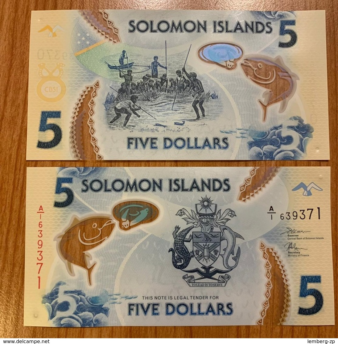 Solomon Islands - 5 Pcs X 5 Dollars 2019 UNC Polymer Lemberg-Zp - Solomon Islands