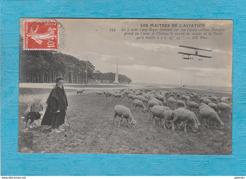 Le 7 Août 1909, Roger Sommer Sur Un Biplan Système Farman Prend Au Camp De Châlons Le Record Du Monde. ( Callac 1909 ). - Aviateurs