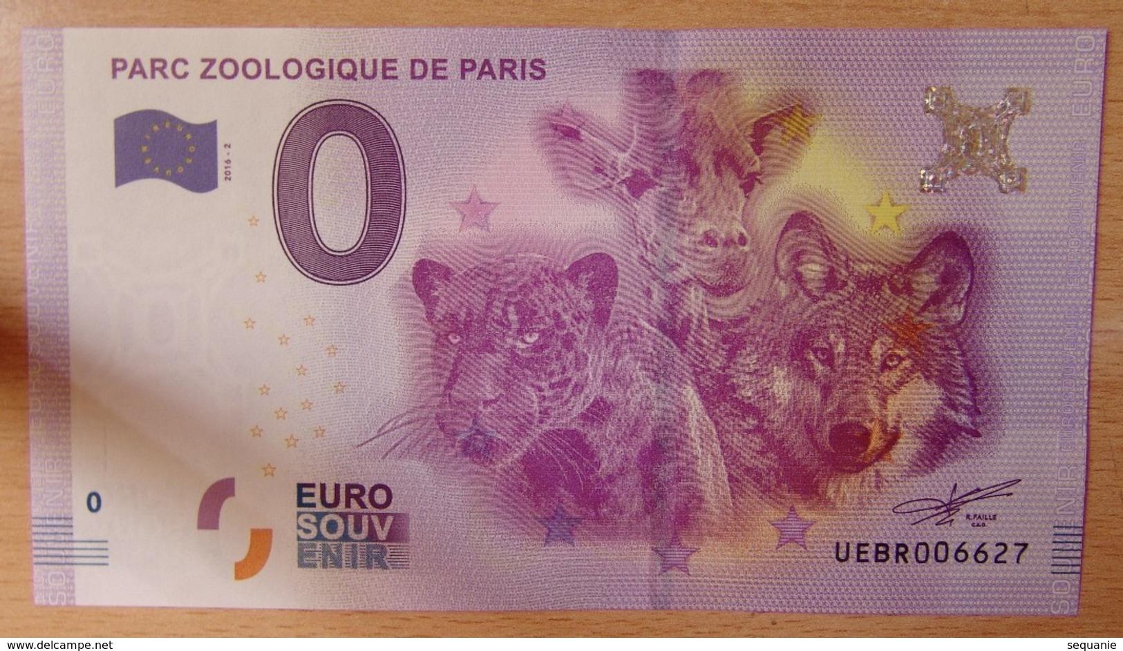 Billet Touristique 0 Euro  Parc Zoologique De Paris  2016 - EURO