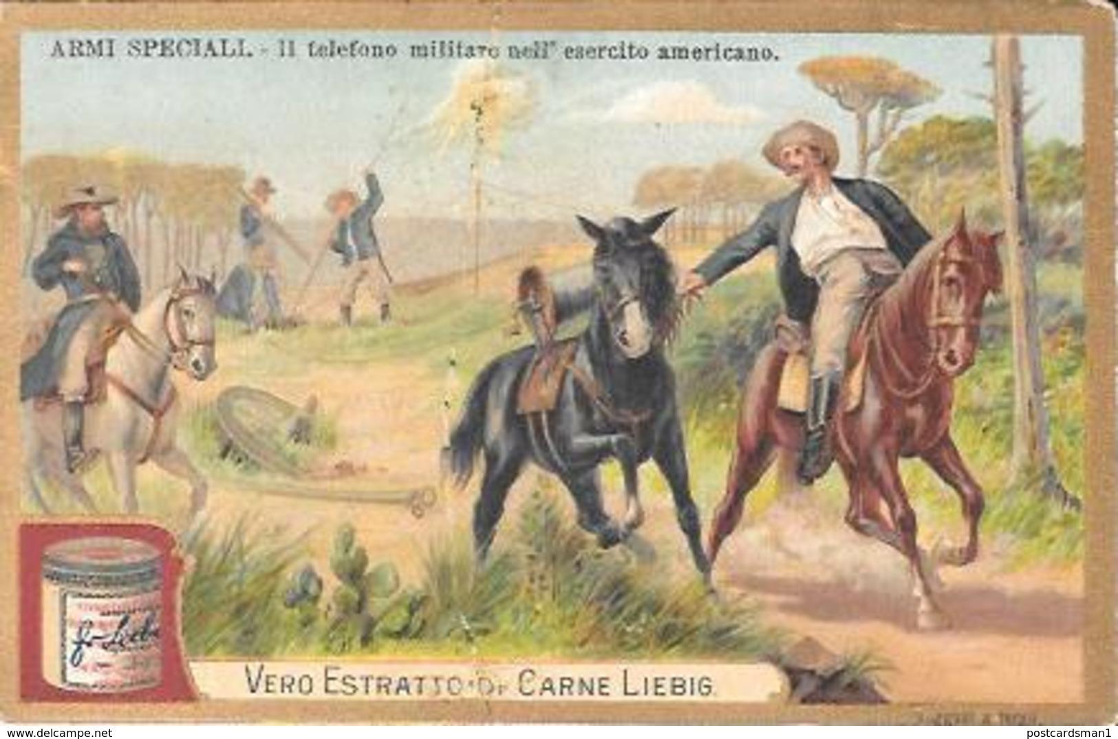 """9 Figurine LIEBIG (Estratto Carne Per Brodo) -RRR- Stampate Nel1878 Serie: ARMI SPECIALI """" (3) GRANDI CONQUISTATORI """"(6) - Pubblicitari"""