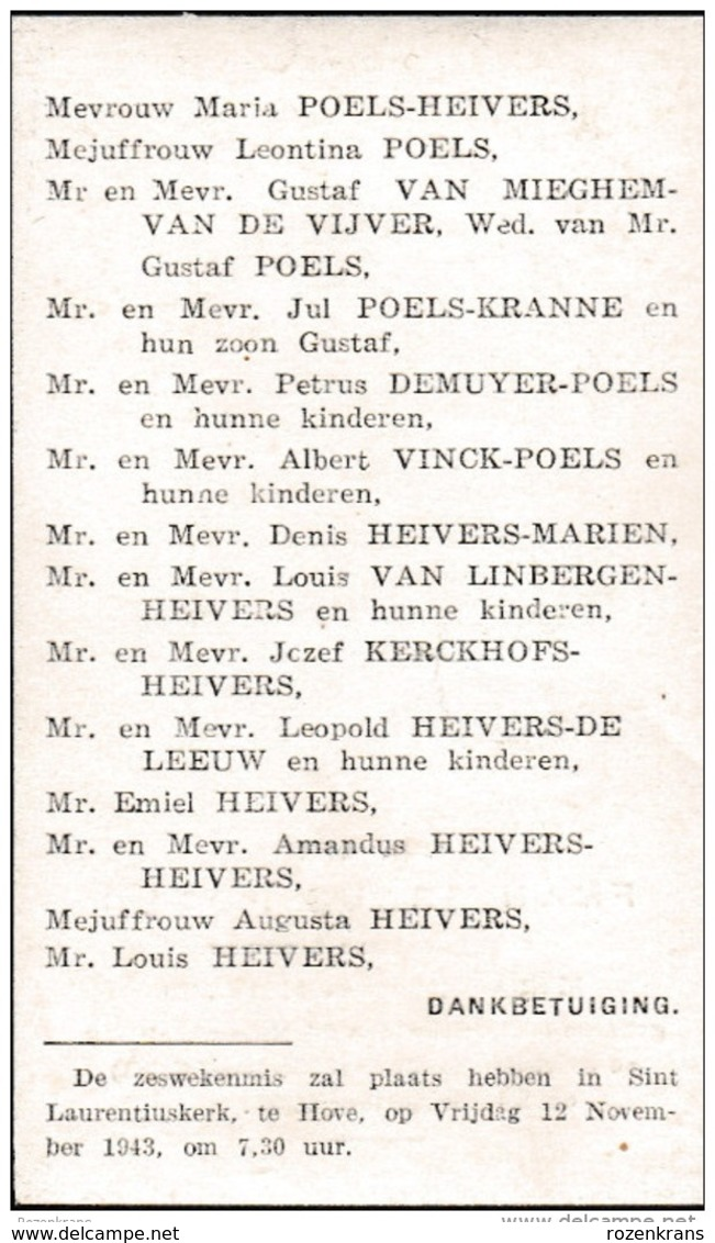 1903 1943 Mortsel Berchem Franciscus Poels Heivers Van Mieghem Kranne Demuyer Vinck Marien Van Linbergen Doodsprentje - Andachtsbilder