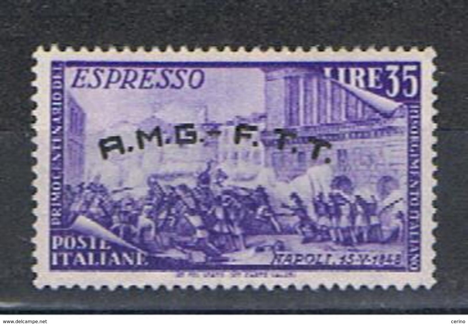 TRIESTE  A:  1948  ESPRESSO  RISORGIMENTO  -  £. 35  VIOLETTO  N. -  SASS. E 5 - Eilsendung (Eilpost)