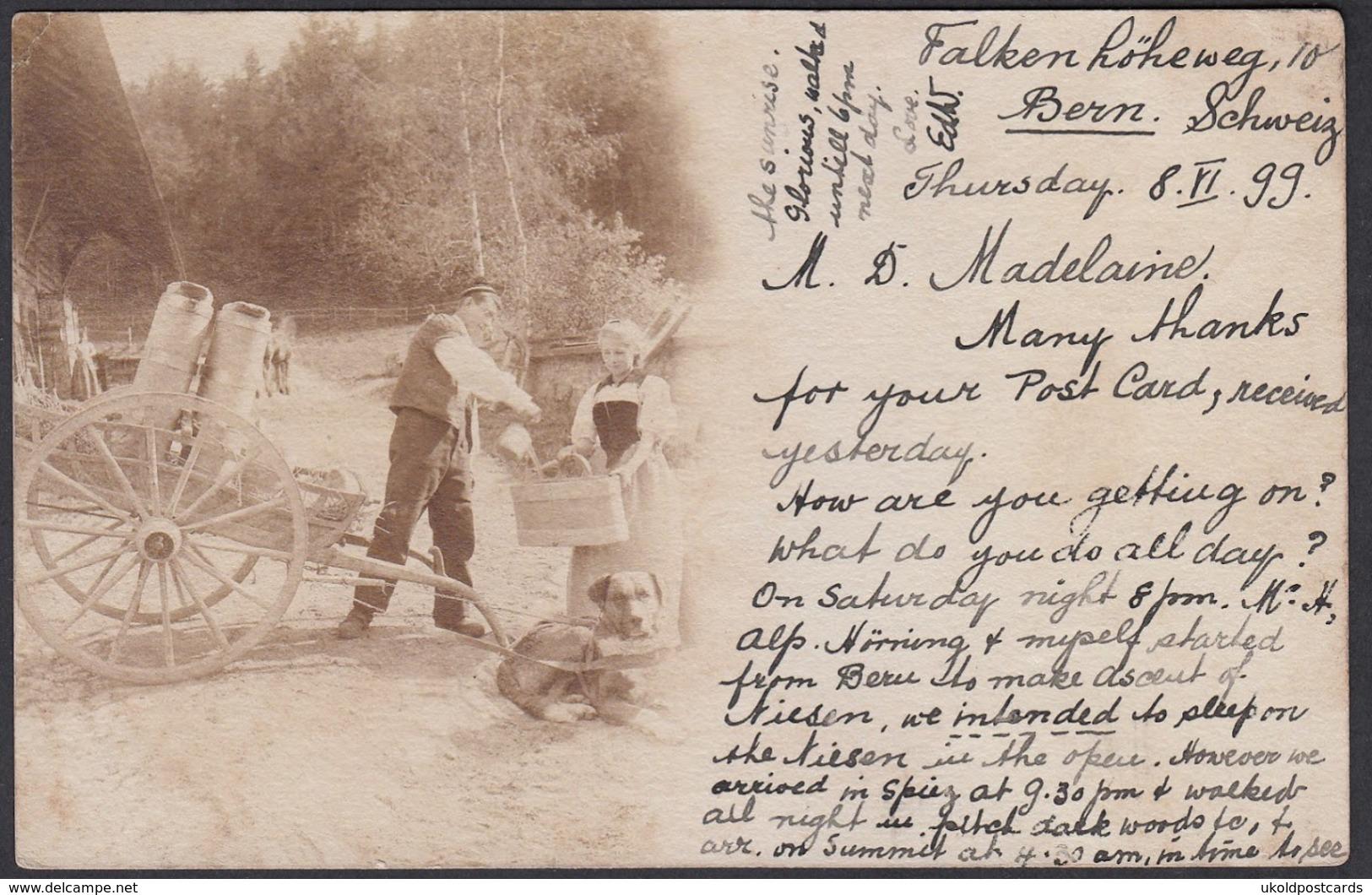 CPA  Suisse, Le Laitier - Attelage De Chien / Dog Cart - Carte Photo 1899 - Switzerland