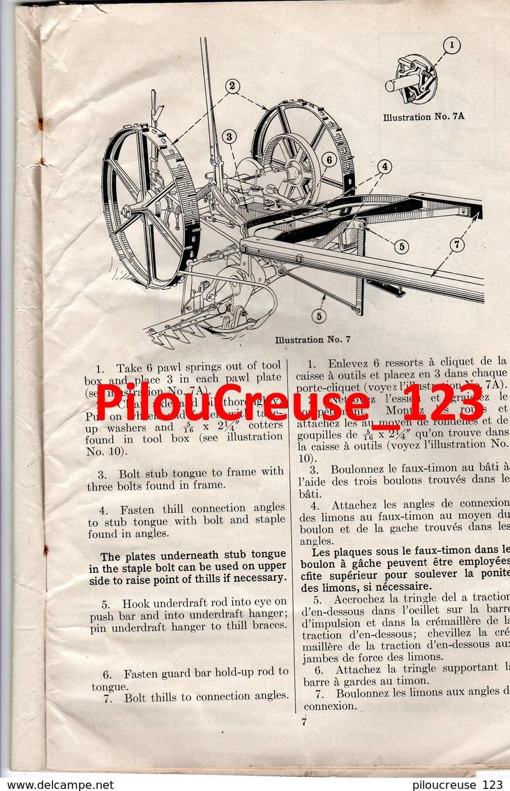 MACHINES AGRICOLES - Instructions  FAUCHEUSE N°1 (MOWER) OSBORNE - Avec Liste Et Gravure Des Pièces De Rechange - Máquinas