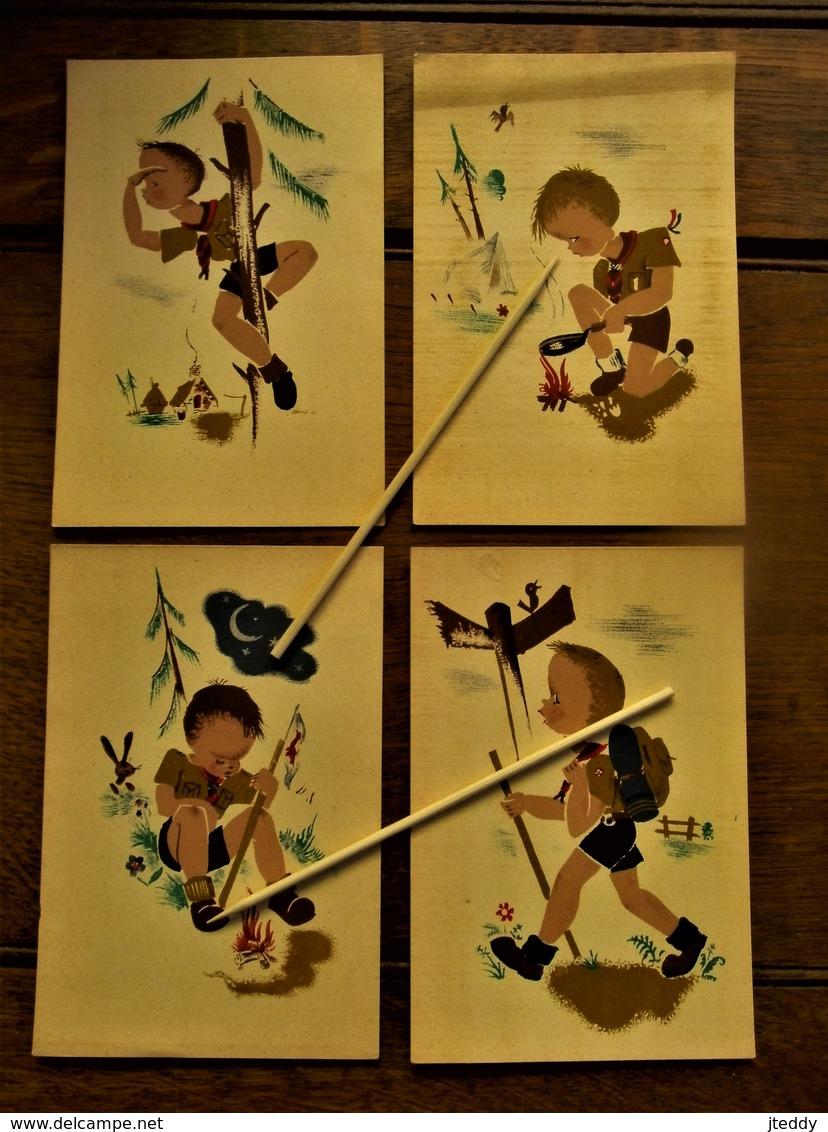 Lot Van 4 Stuks Oude Postkaarten L. K. D.       Padvinderij Van Rond 1946 - Padvinderij