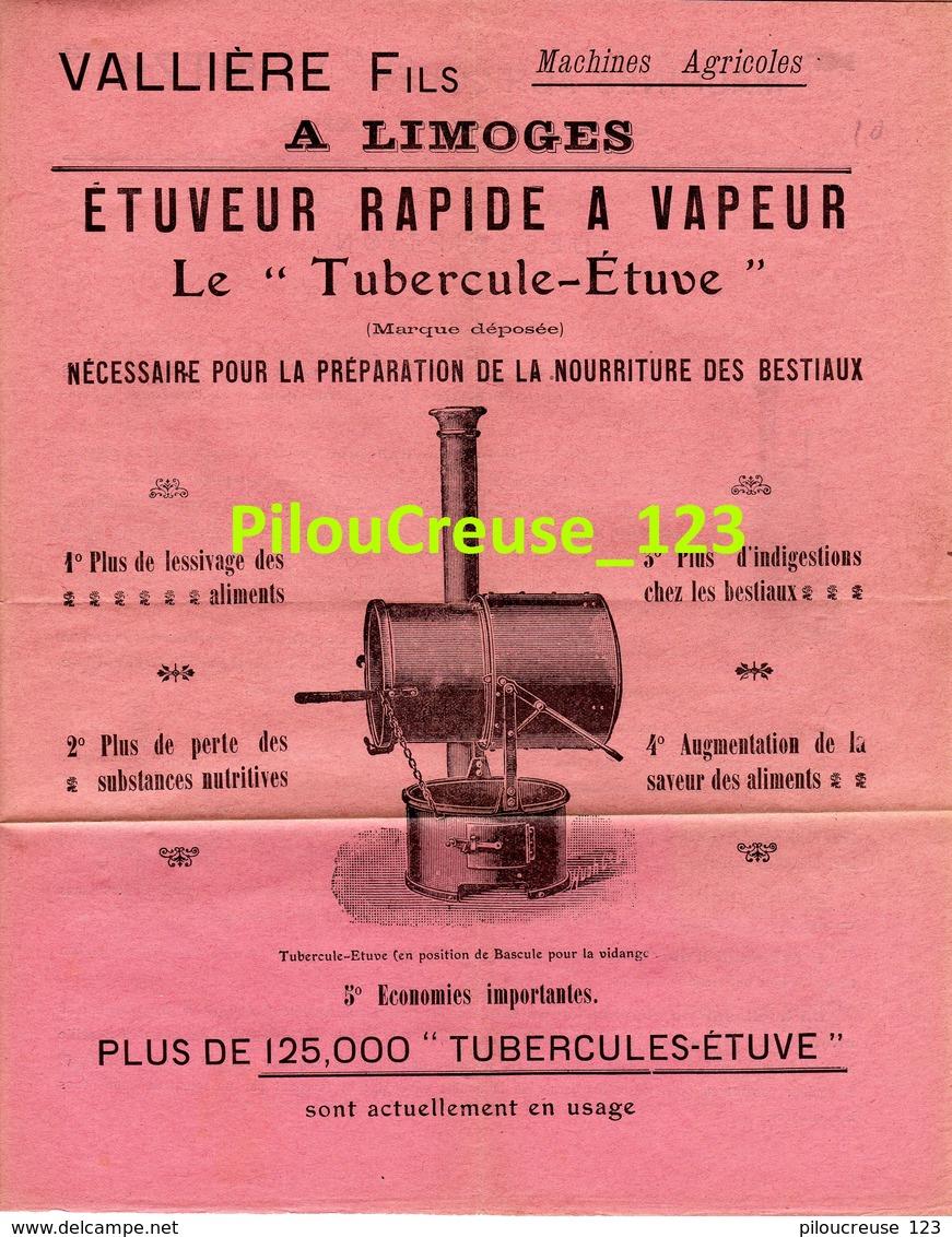 """MACHINES AGRICOLES - LIMOGES - VALLIERE FILS - """"Etuveur Rapide à Vapeur """" - 4 Pages - Dimension 22 X 27 Cm - 4 Scans - Machines"""