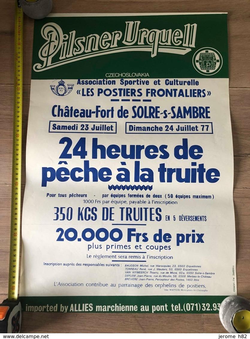 Affiche 1977, Château-fort De Solre Sur Sambre, 24 Heures De Pêche Truite, Poste, Pilsner Urquell, Postier Frontalier - Fishing