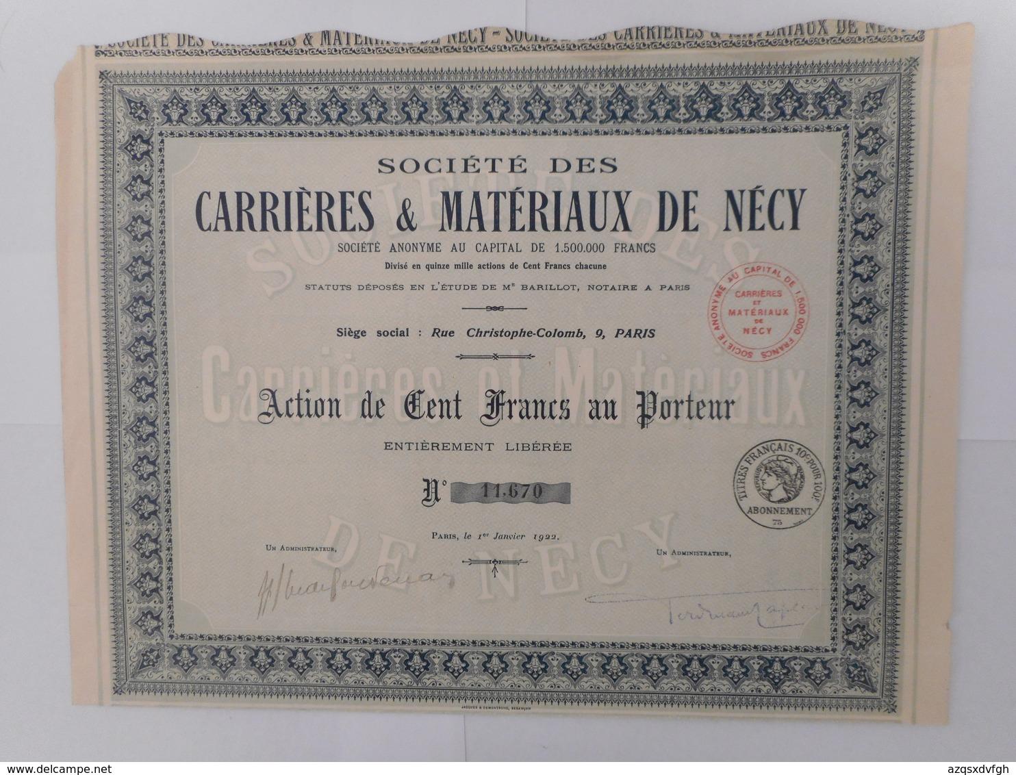 Carrieres Et Materiaux De NECY  1922        ORNE VIGNATS - Autres
