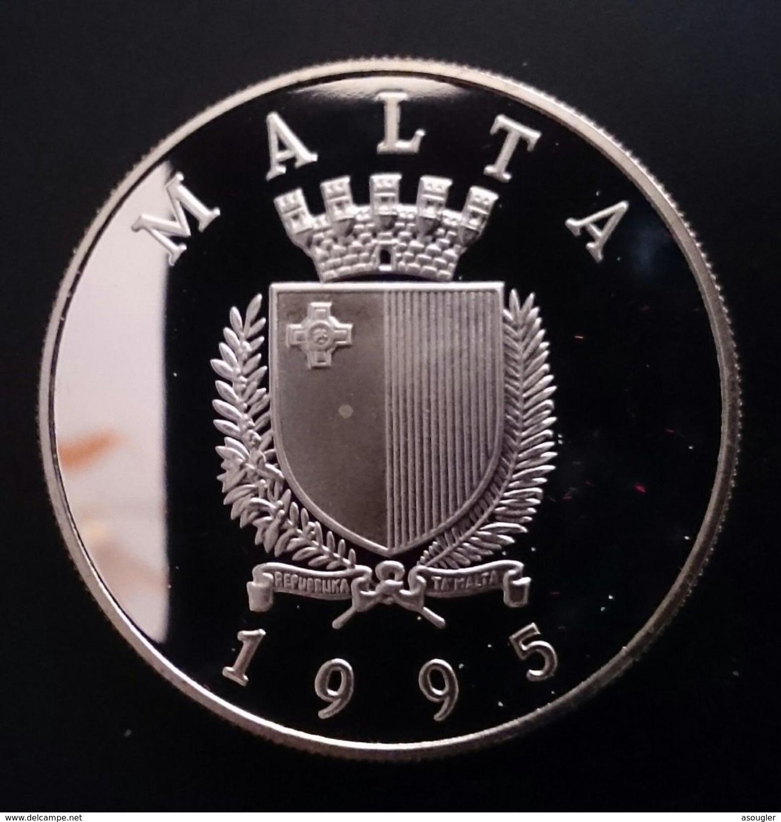 "MALTA 5 LIRI LIRA POUND 1995 SILVER PROOF ""50th Anniversary - United Nations"" Free Shipping Via Registered Air Mail - Malta"