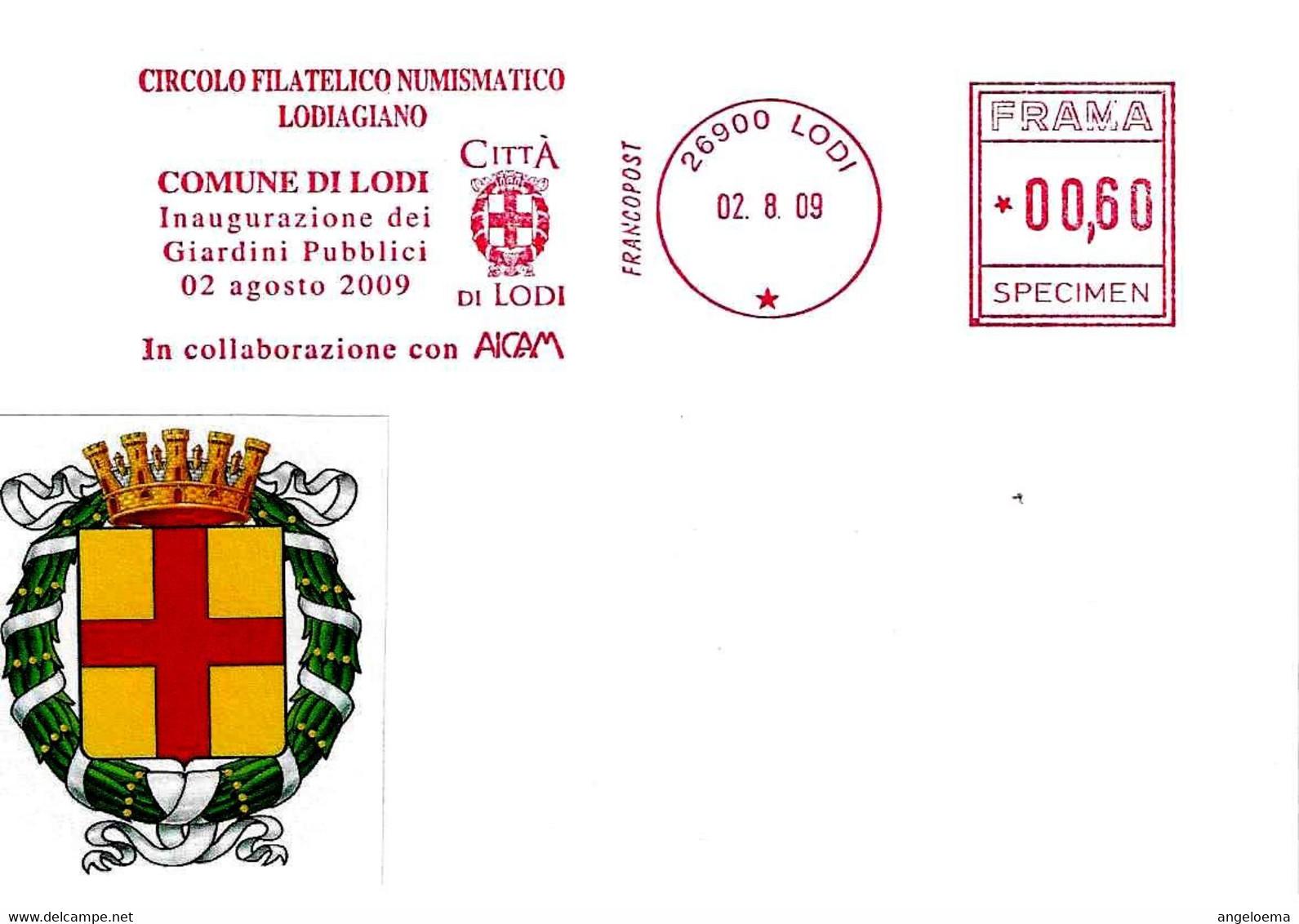 ITALIA - 2009 LODI Comune Di Lodi Inaugurazione Giardini Pubblici - Ema Affranc.mecc. Rossa Red Meter SPECIMEN - 2879 - Buste