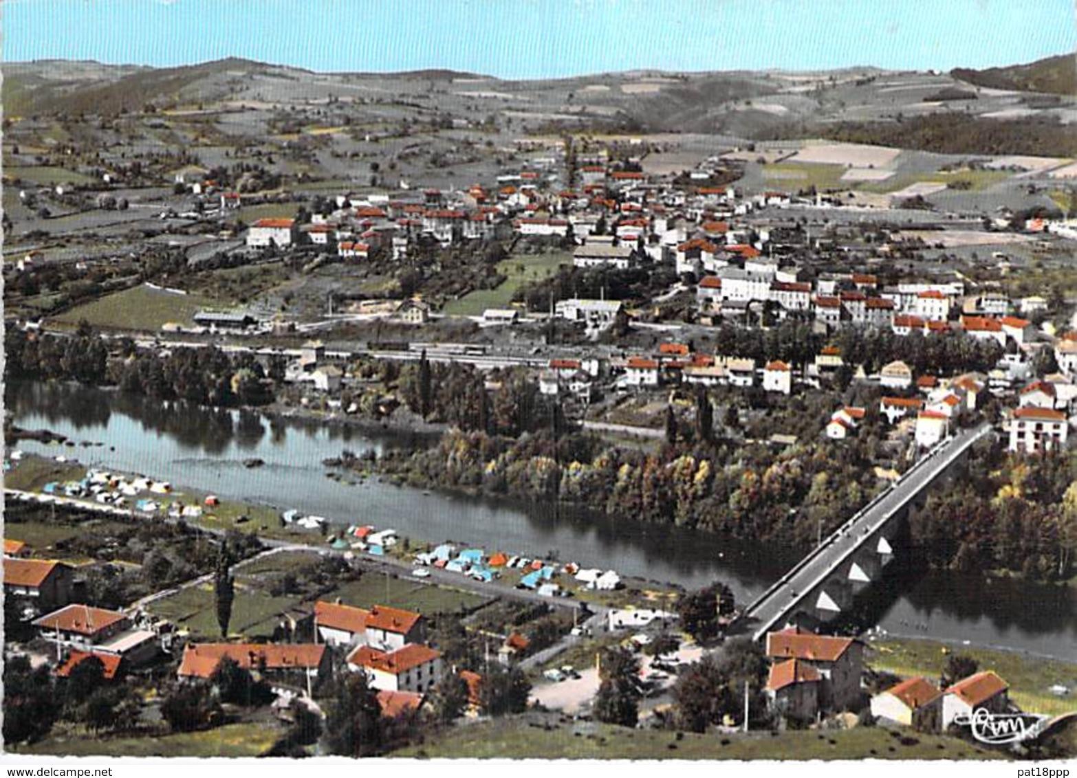 43 - RETOURNAC : Vue Panoramique Aérienne Et Le Camping - CPSM Dentelée Colorisée Grand Format 1968 - Haute Loire - Retournac
