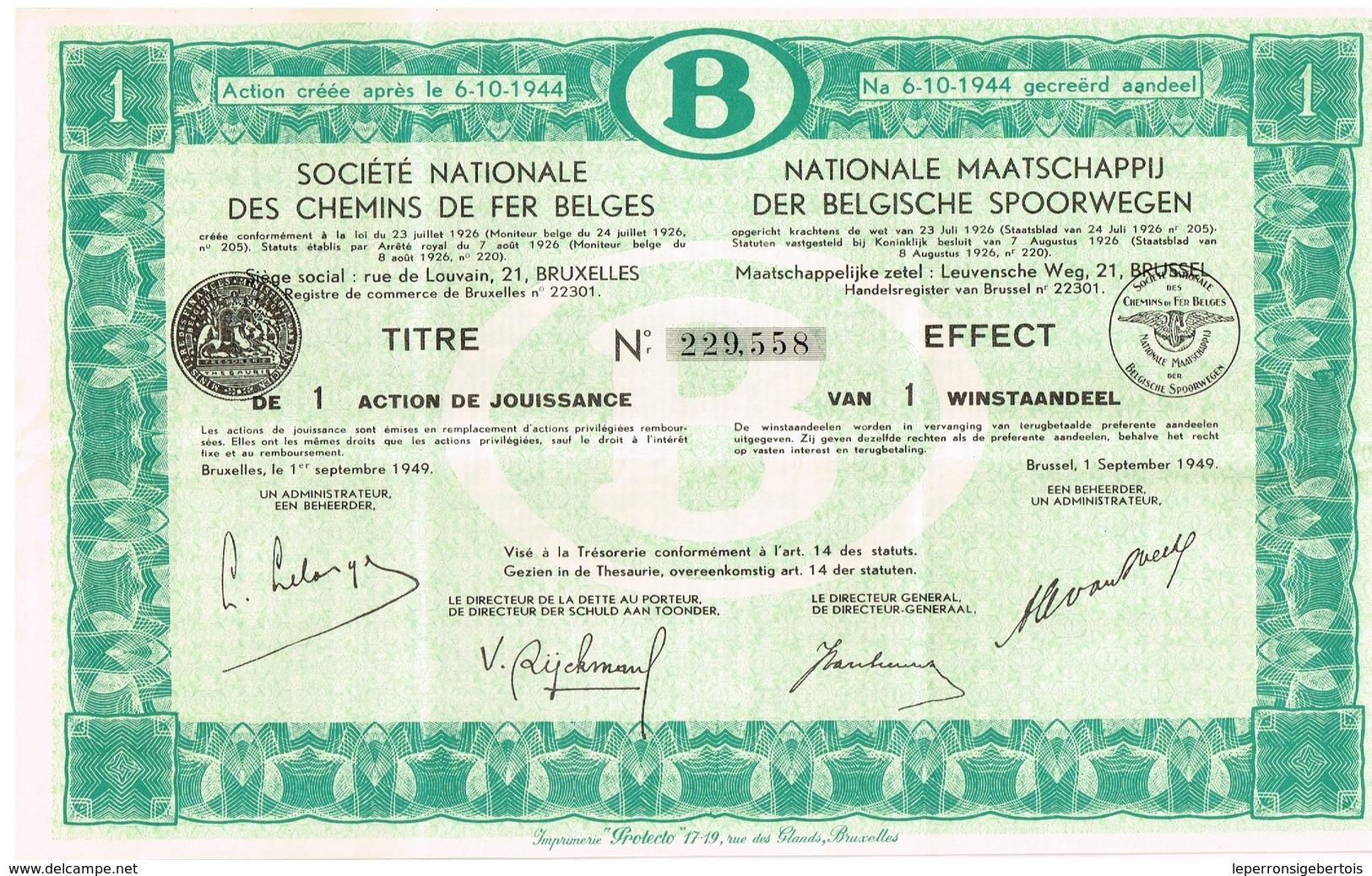 Action Ancienne - Société Nationale Des Chemins De Fer Belges - Titre De 1949 -VF - Chemin De Fer & Tramway